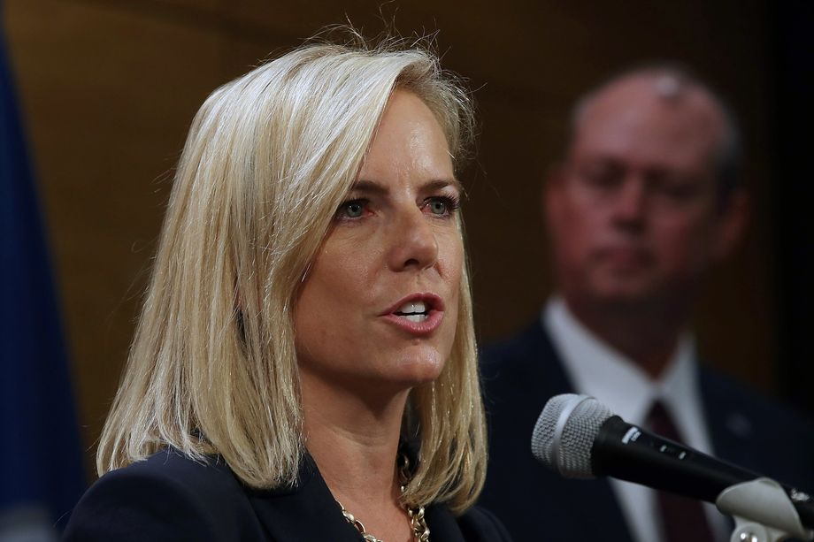 Department of Homeland Security Secretary Kirstjen Nielsen testifying on Capitol Hill.