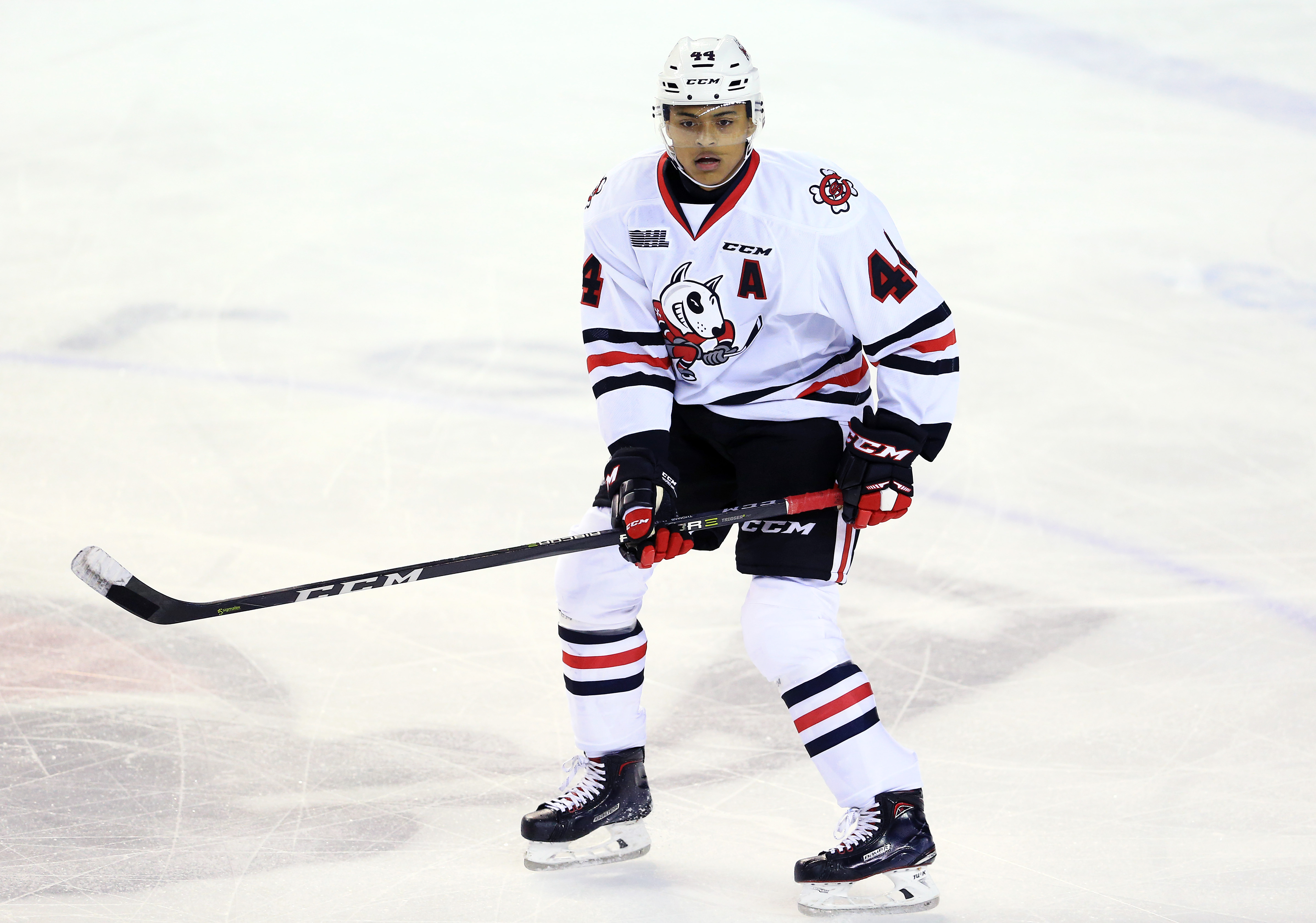 ST CATHARINES, ON - OCTOBER 26: Akil Thomas #44 of the Niagara IceDogs skates during an OHL game against the Oshawa Generals at the Meridian Centre on October 26, 2017 in St Catharines, Ontario, Canada.