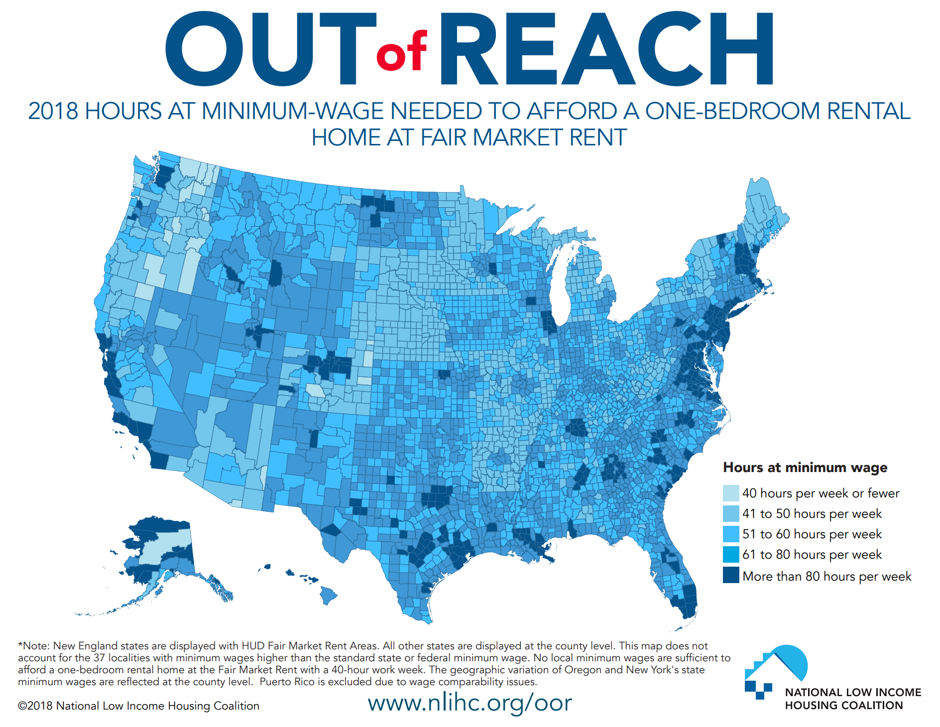 A graph showing how undaffordable the nation is for low-income renters
