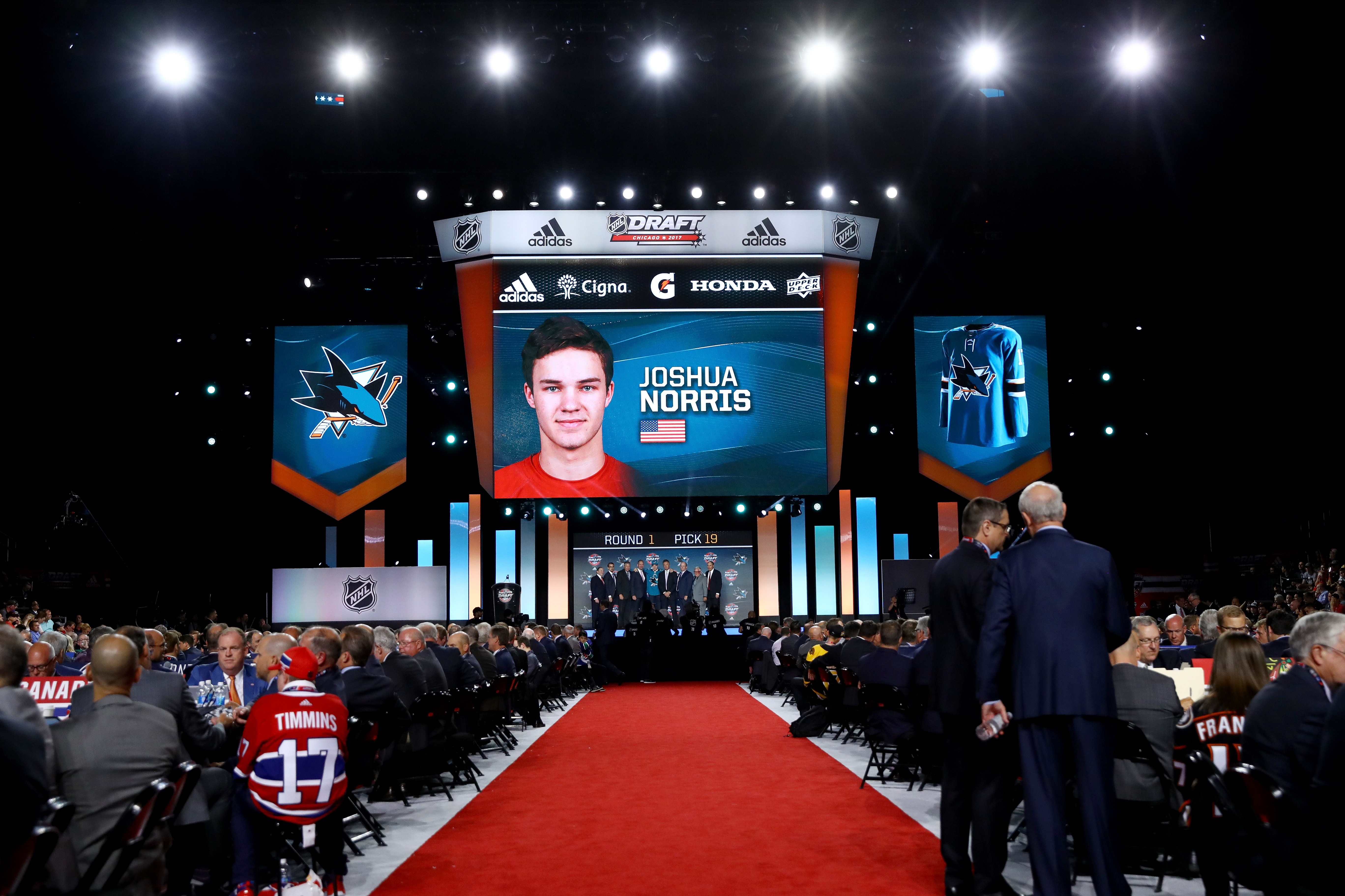 CHICAGO, IL - JUNE 23: A general view as Joshua Norris is selected 19th overall by the San Jose Sharks during the 2017 NHL Draft at the United Center on June 23, 2017 in Chicago, Illinois.