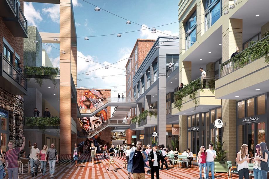How one Underground facet is planned to look; Masquerade's permanent home is seen at left.