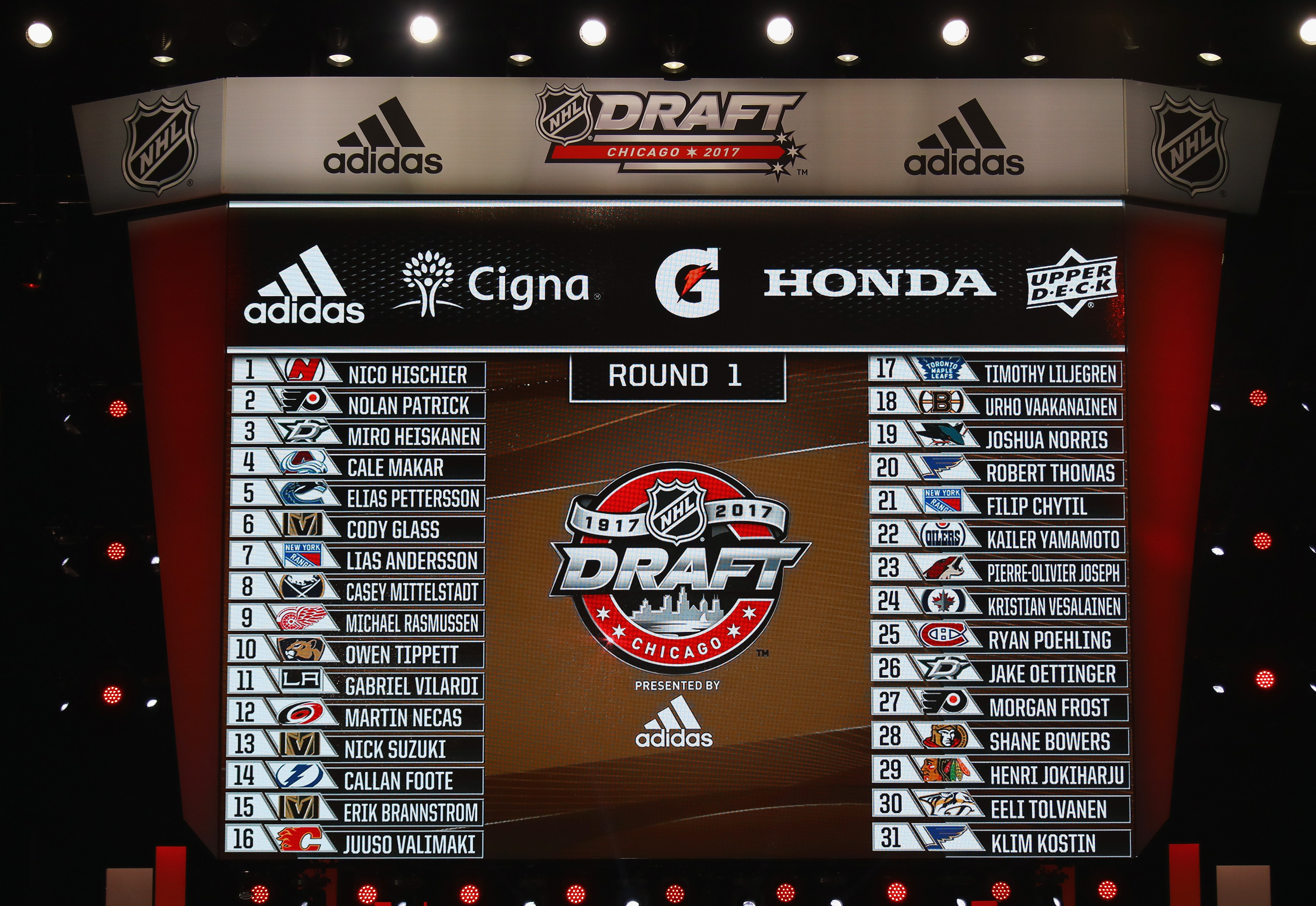 CHICAGO, IL - JUNE 24: A general view of the first round draft picks board during the 2017 NHL Draft at the United Center on June 24, 2017 in Chicago, Illinois.