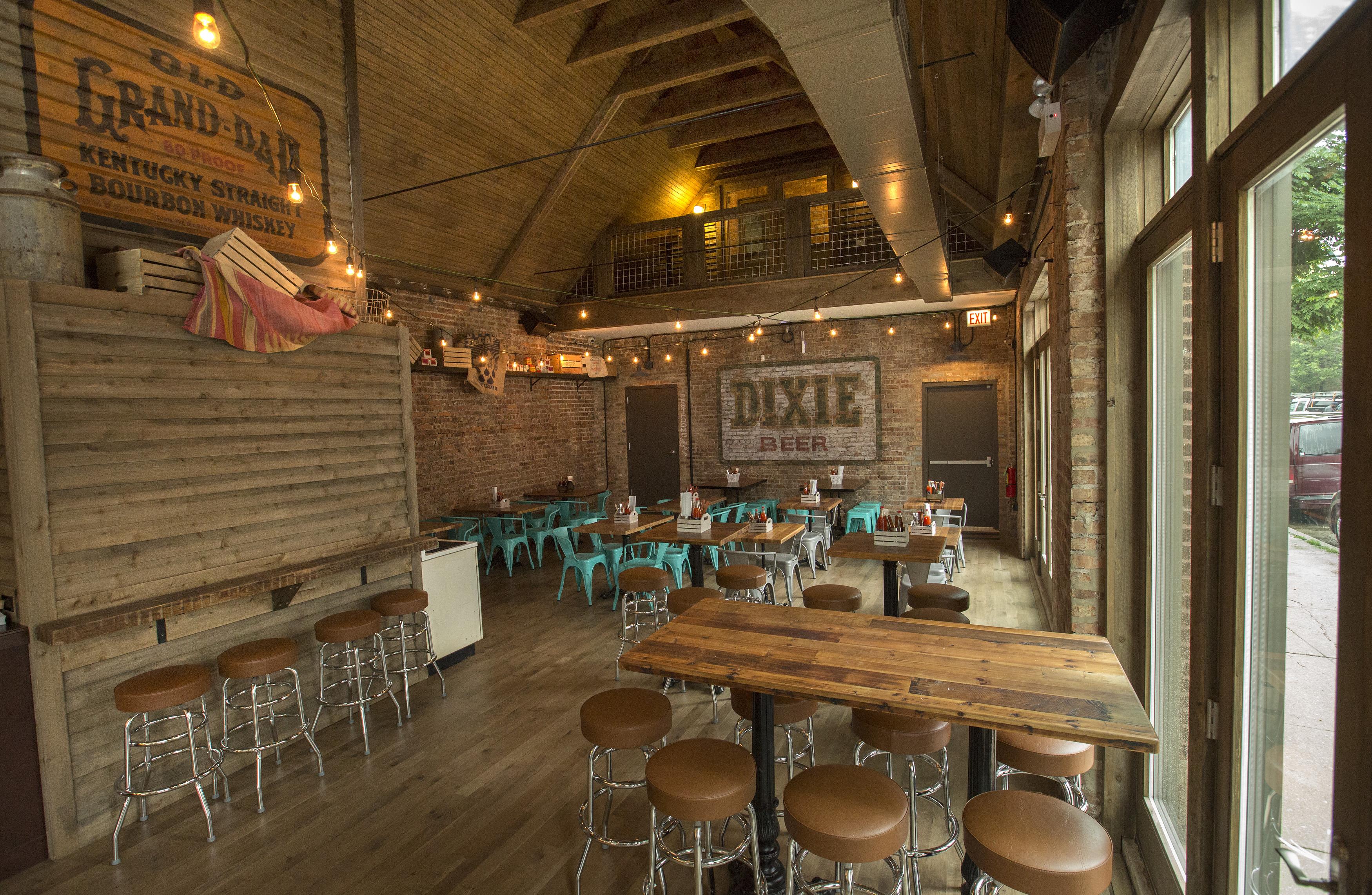 A brown, wood-laden restaurant interior