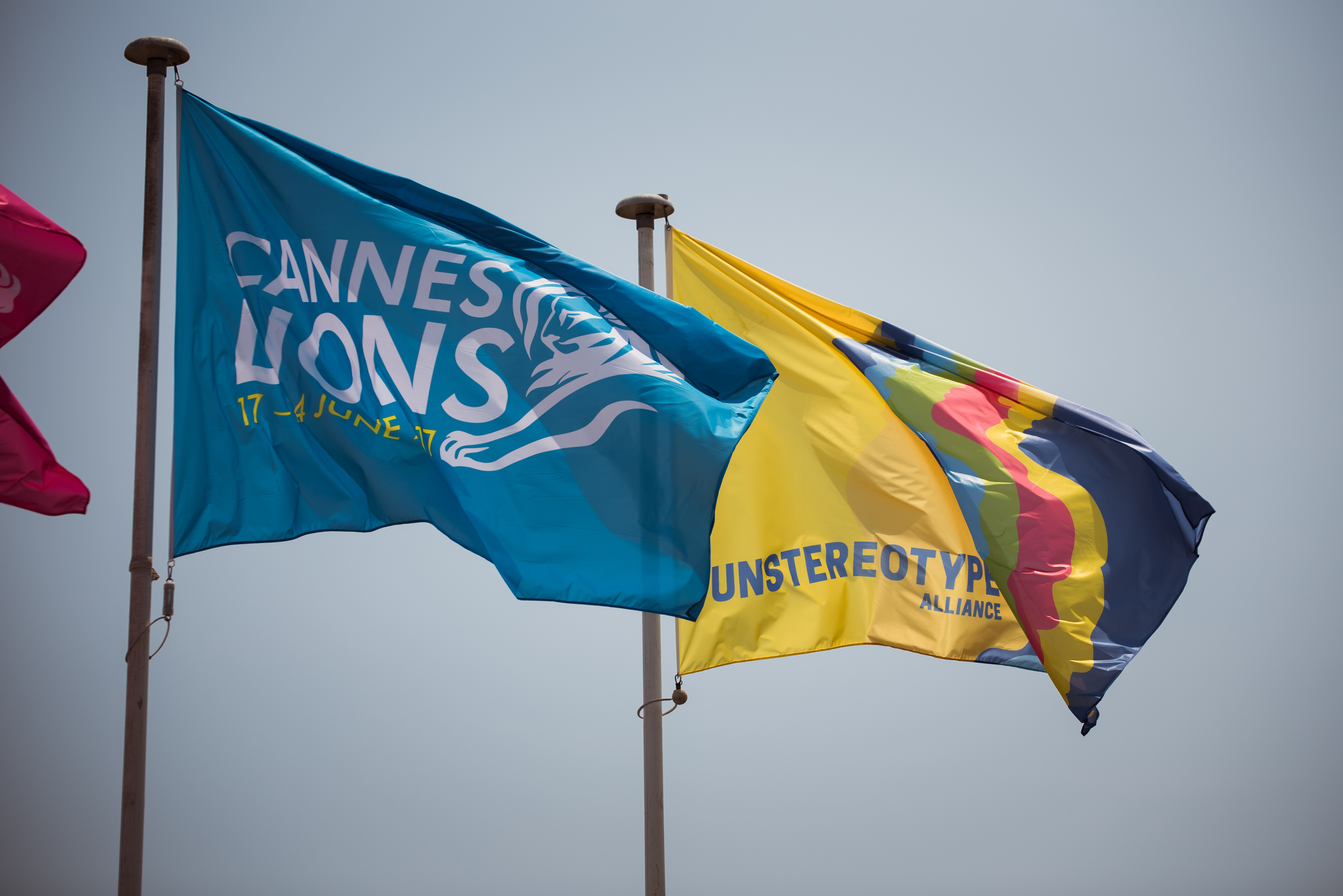 The #Unstereotype flag and the Cannes Lions flag at the annual advertising meeting