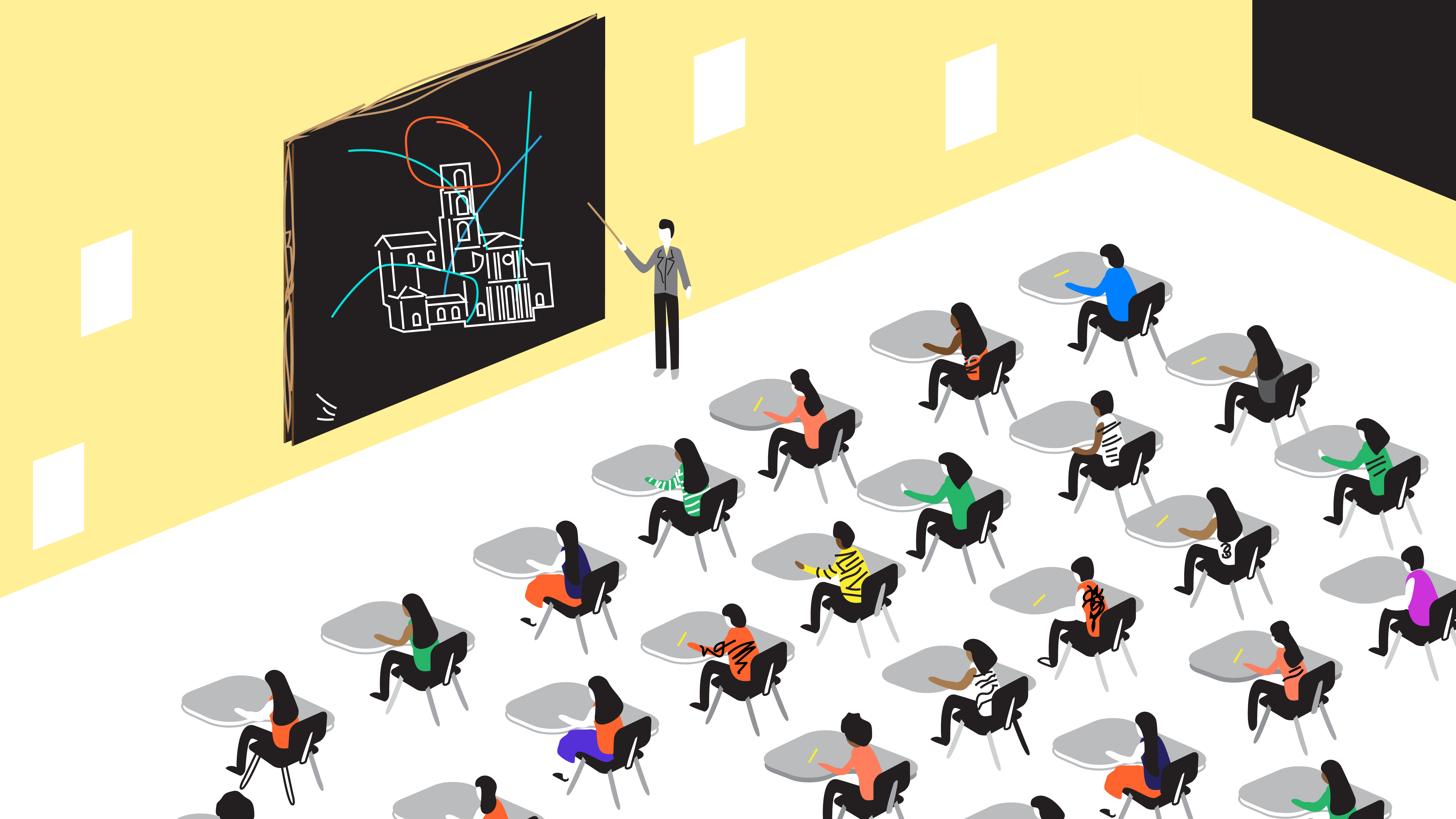 illustration of students in a classroom
