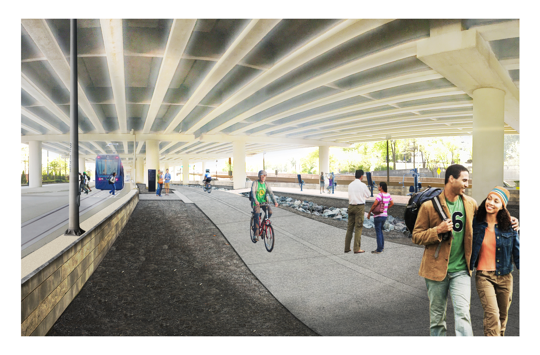 In renderings, a hypothetical streetcar sighting beneath the interstate.