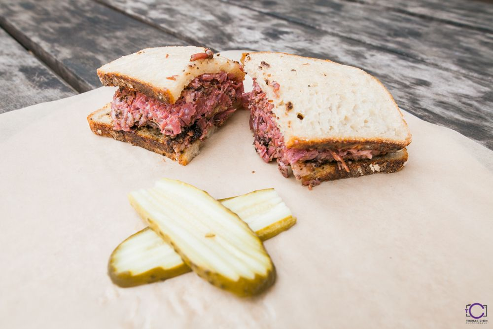 A pastrami sandwich from Pieous