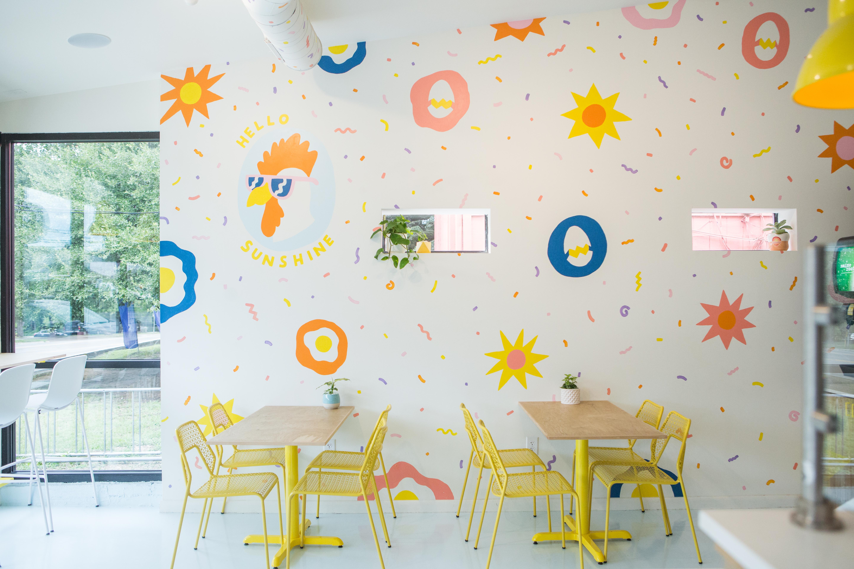 The interior mural of Bird Bird Biscuit