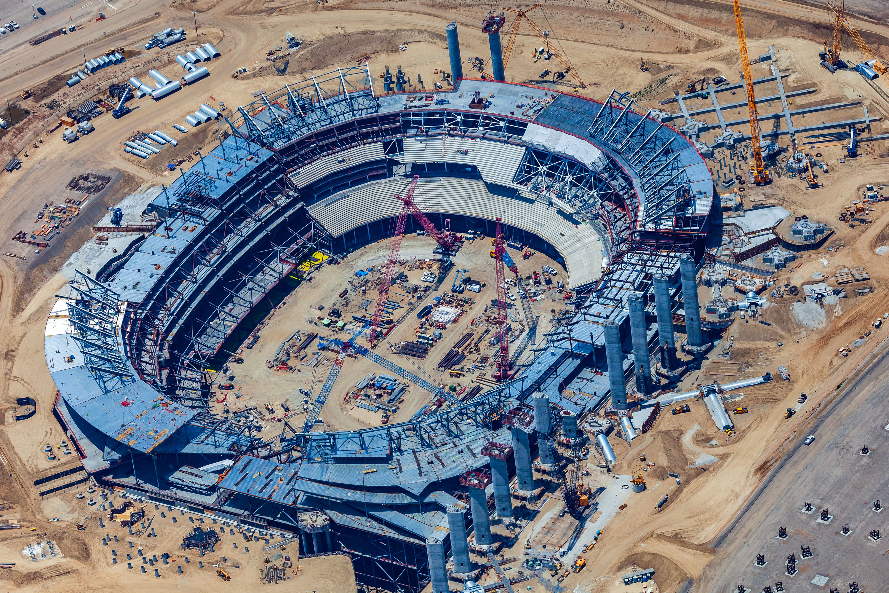 An aerial photo of the Rams and Chargers stadium under construction now in Inglewood.