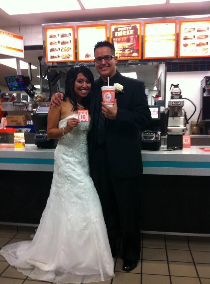 A happy couple at Whataburger