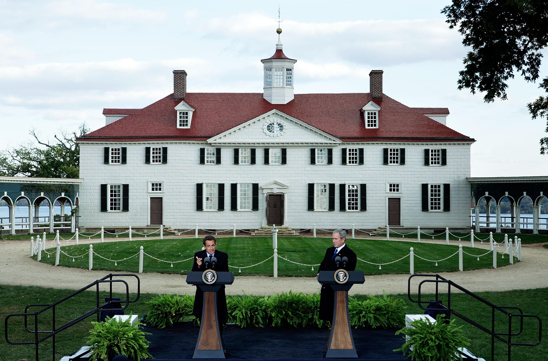 Bush And Sarkozy Visit Mount Vernon