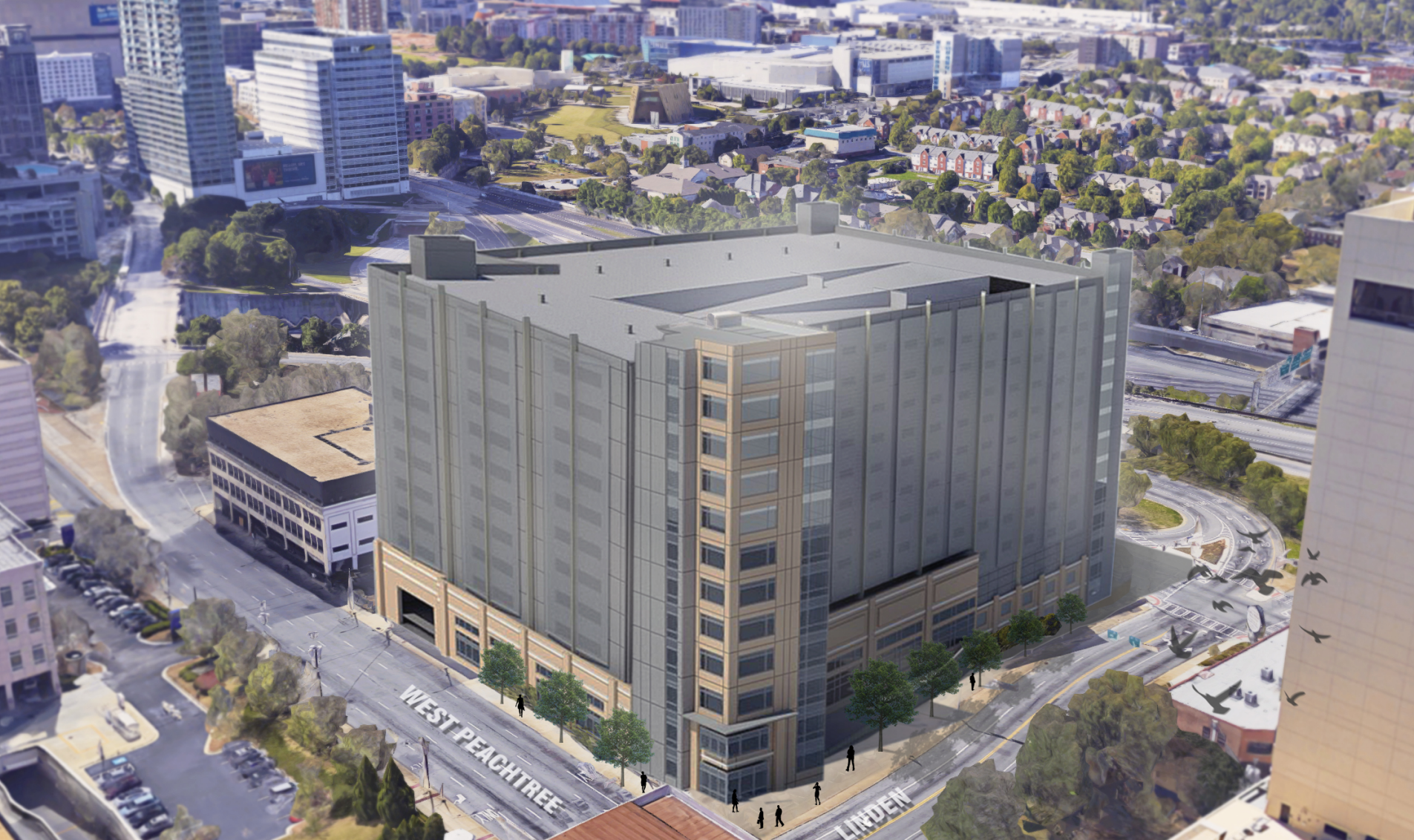 A rendering of the parking deck to-come
