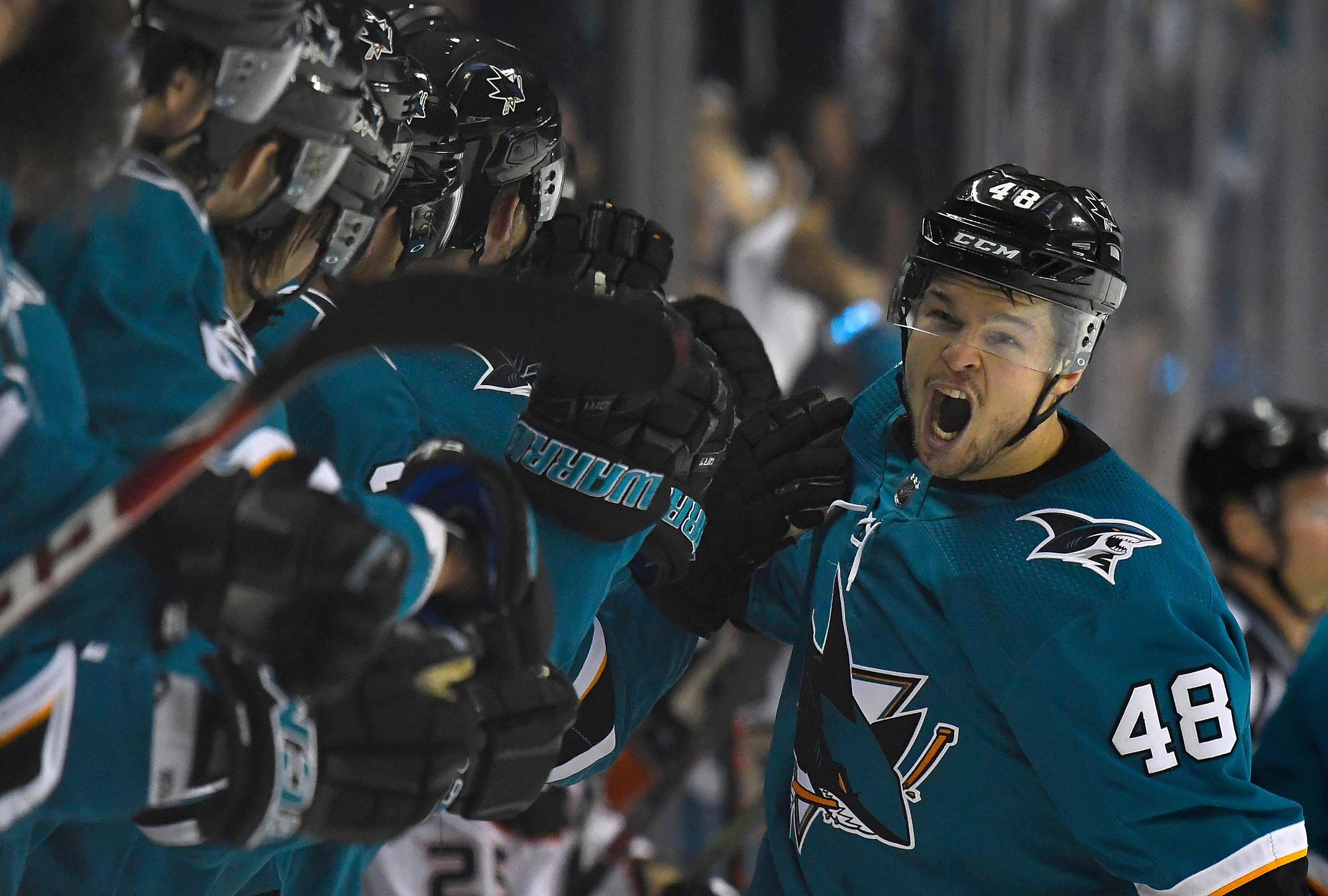SAN JOSE, CA - APRIL 18: Tomas Hertl #48 of the San Jose Sharks is congratulated by teammates after scoring a goal against the Anaheim Ducks during the third period in Game Four of the Western Conference First Round during the 2018 NHL Stanley Cup Playoff