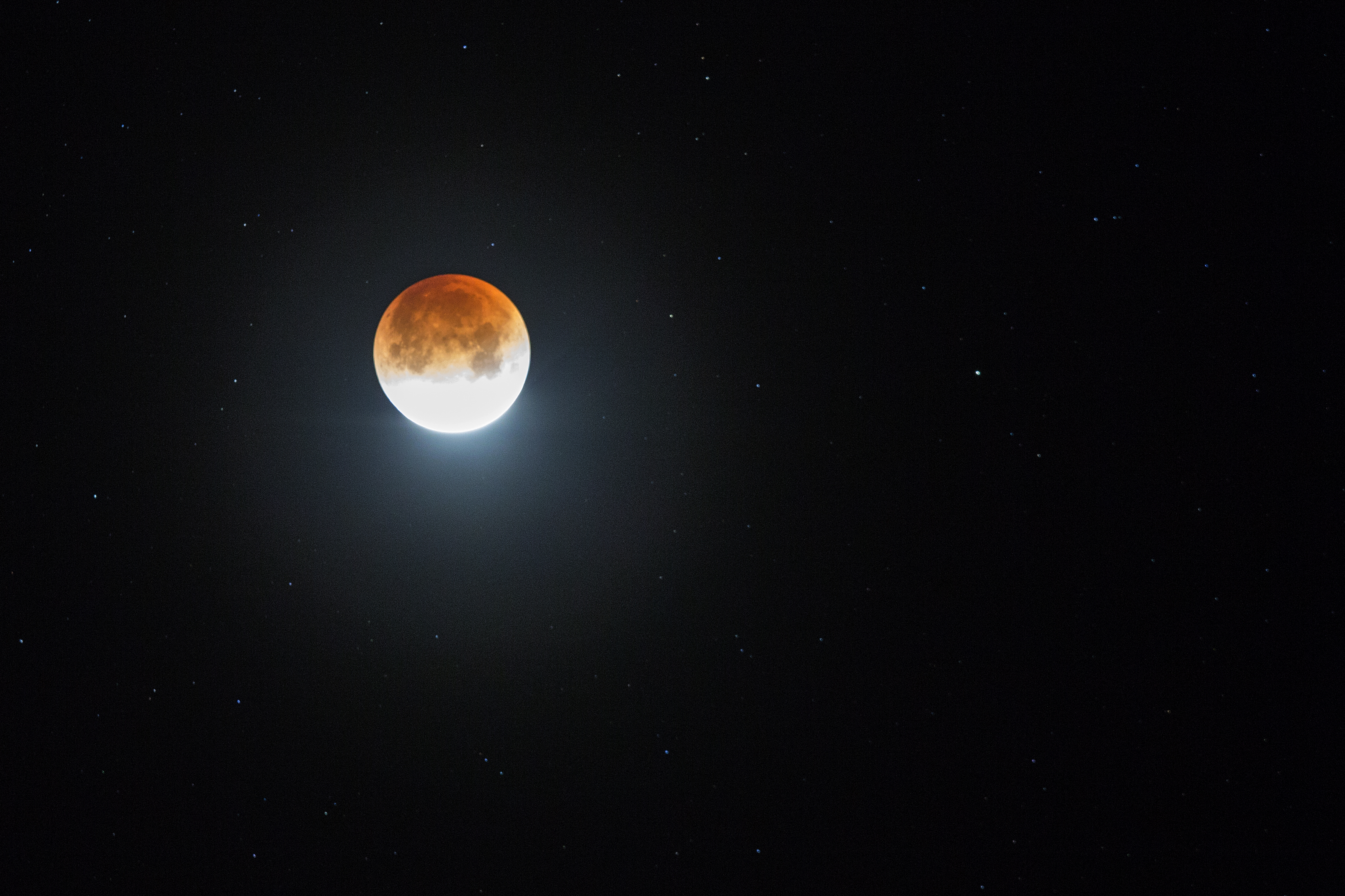 """Rare """"super blue blood moon"""" effect appears on the West Coast on January 31, 2018. The moon appears bigger and brighter than usual."""
