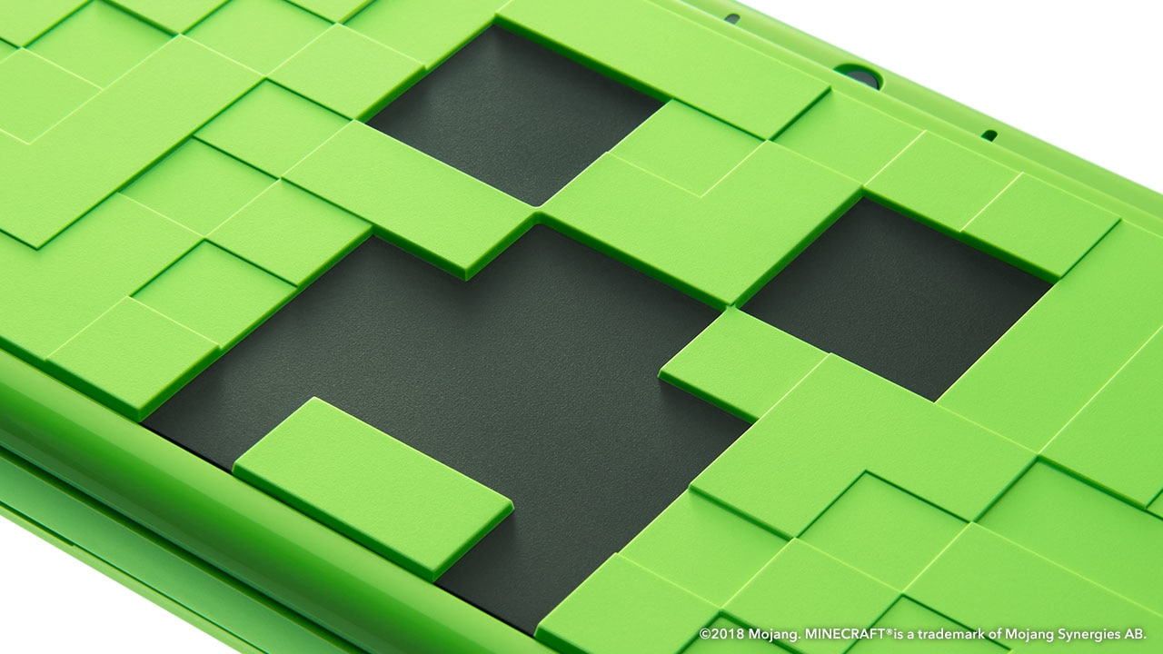A New Nintendo 2DS XL with a Minecraft-style design.