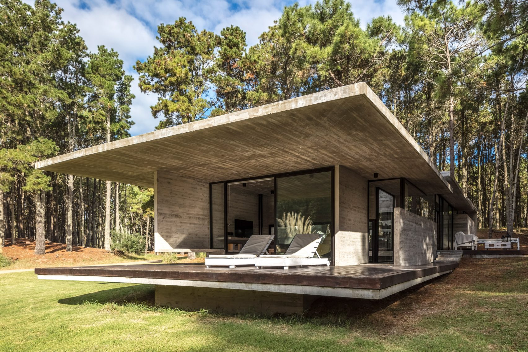 Cool concrete summer home sits among a sea of trees