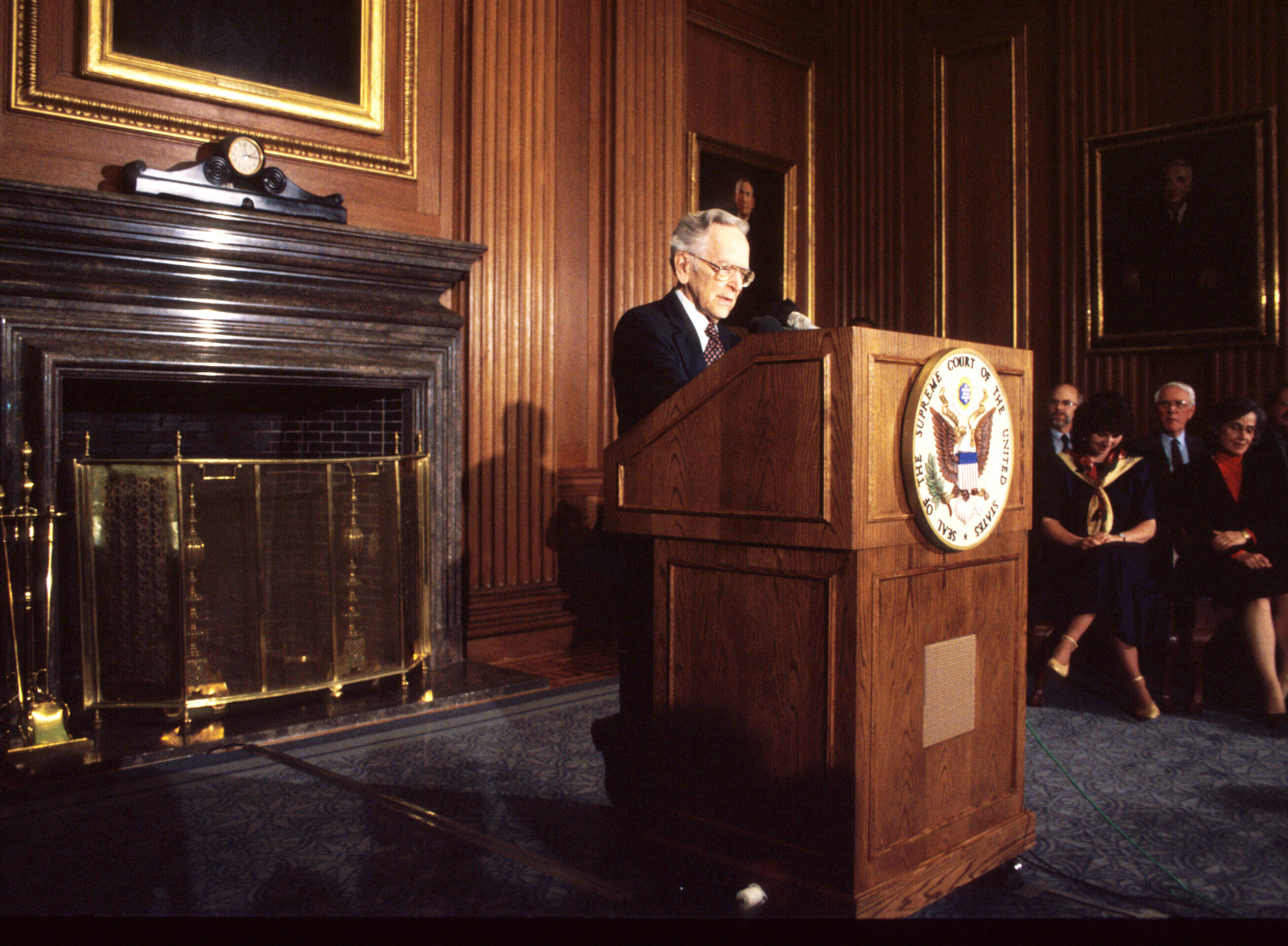 Supreme Court Justice Harry Blackmun, author of Roe v. Wade, announces his retirement in April 1994 in Washington, DC.