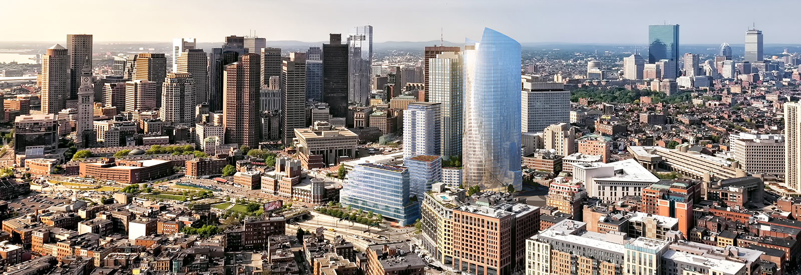 An aerial view of city buildings and skyscrapers in Boston.