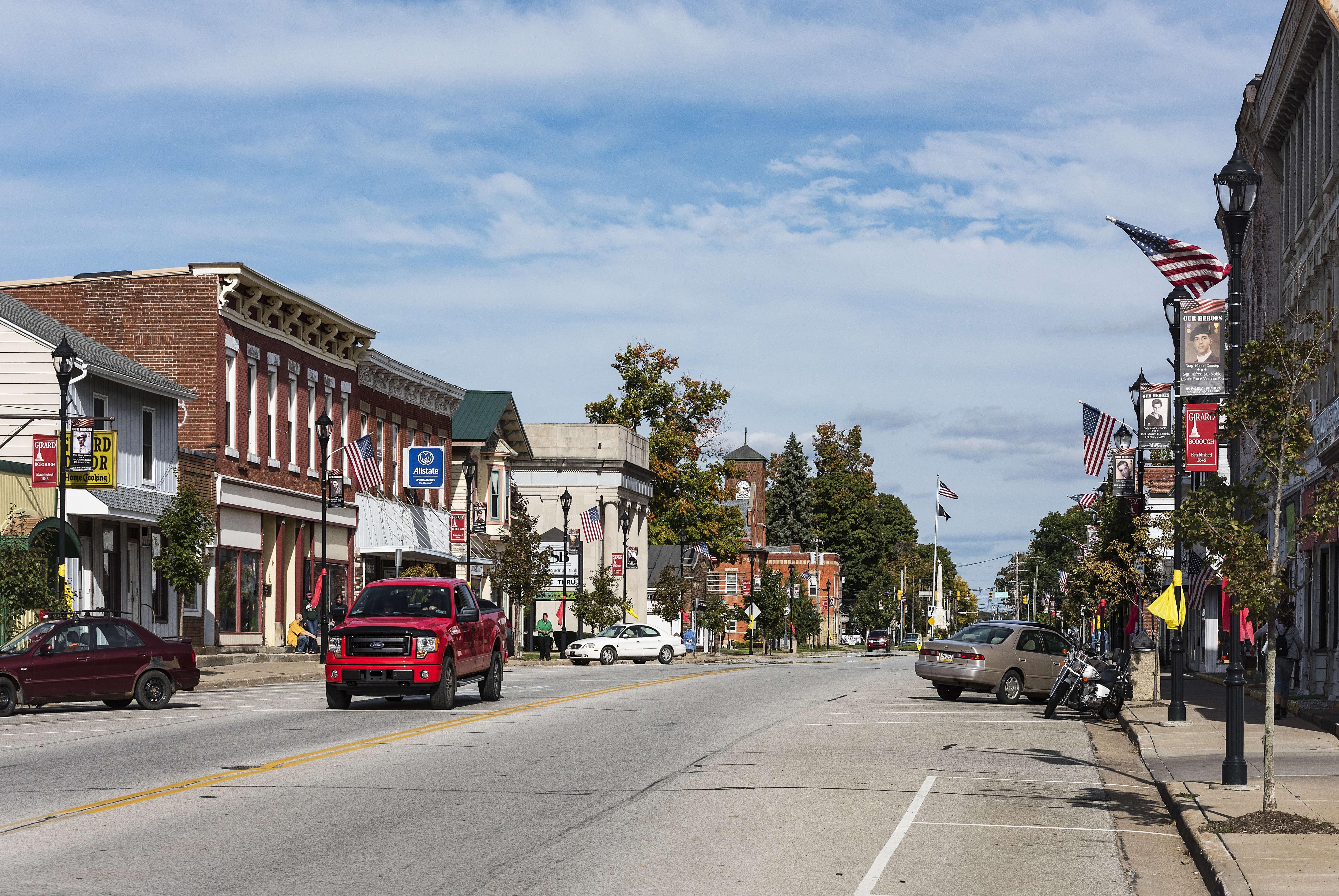 A shot of the main street of Girard, Pennsylvania