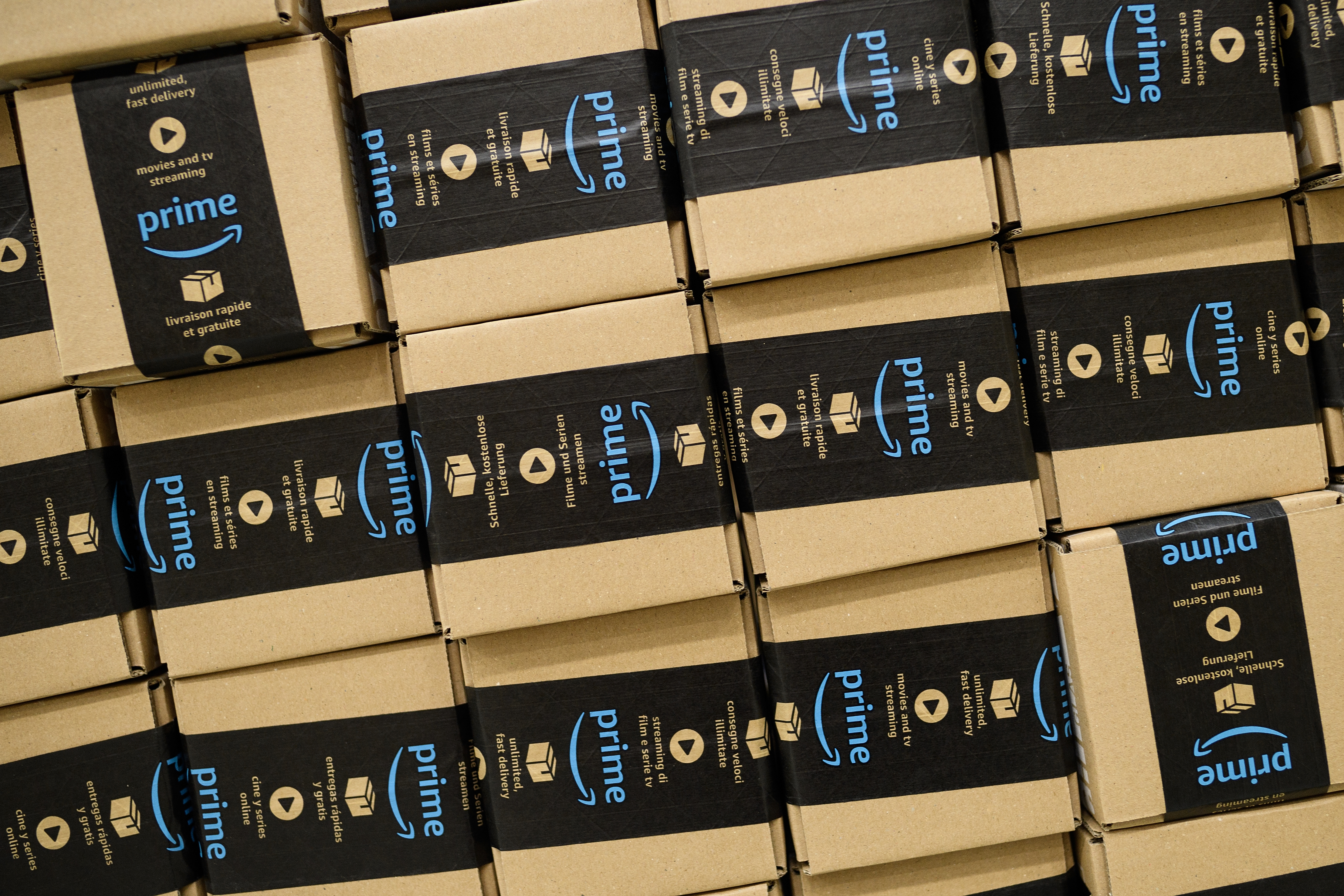 Stacked boxes marked with Amazon Prime logos.