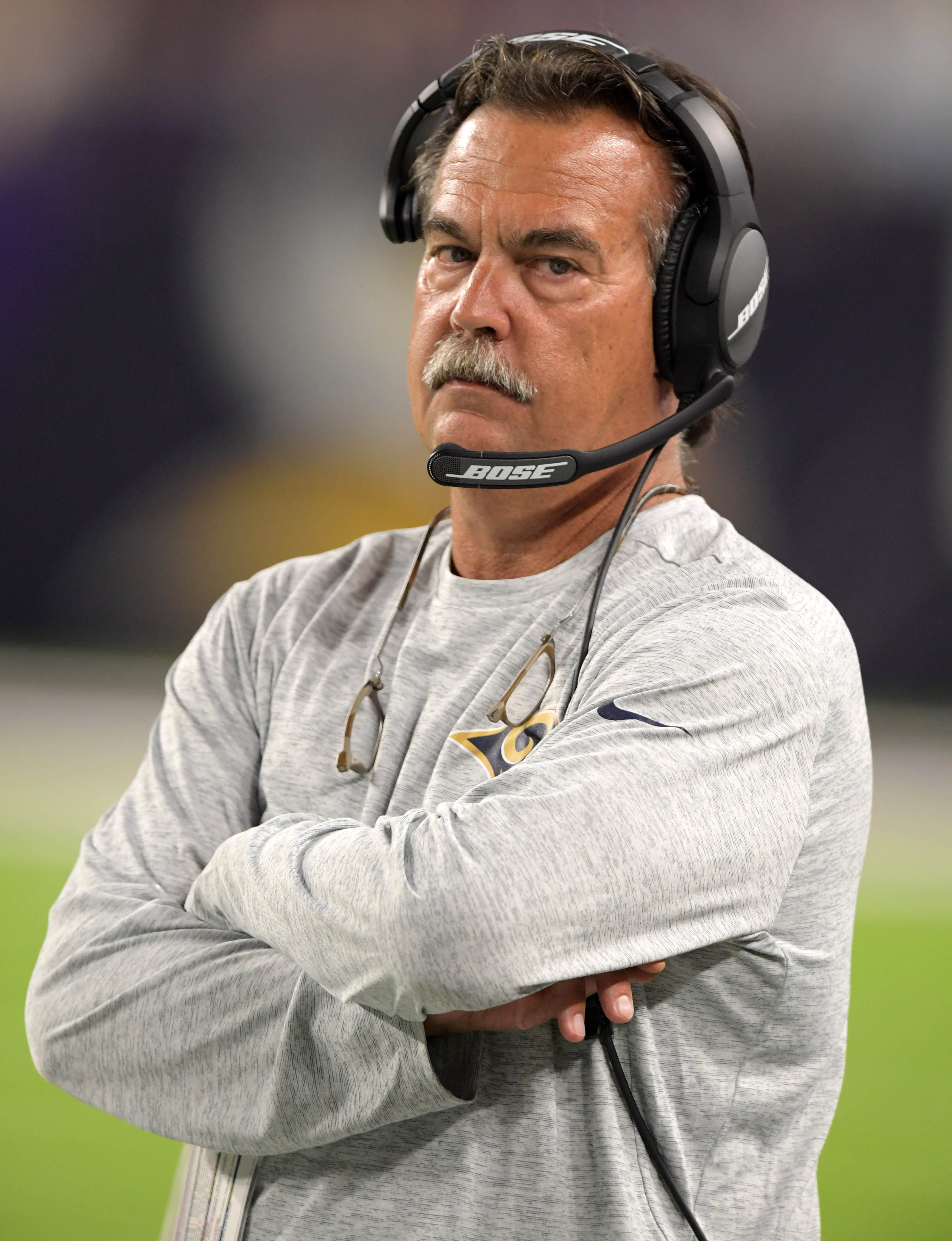 Then-Los Angeles Rams Head Coach Jeff Fisher looks on during the 2016 preseason finale, a 25-27 loss to the Minnesota Vikings, September 1, 2016.