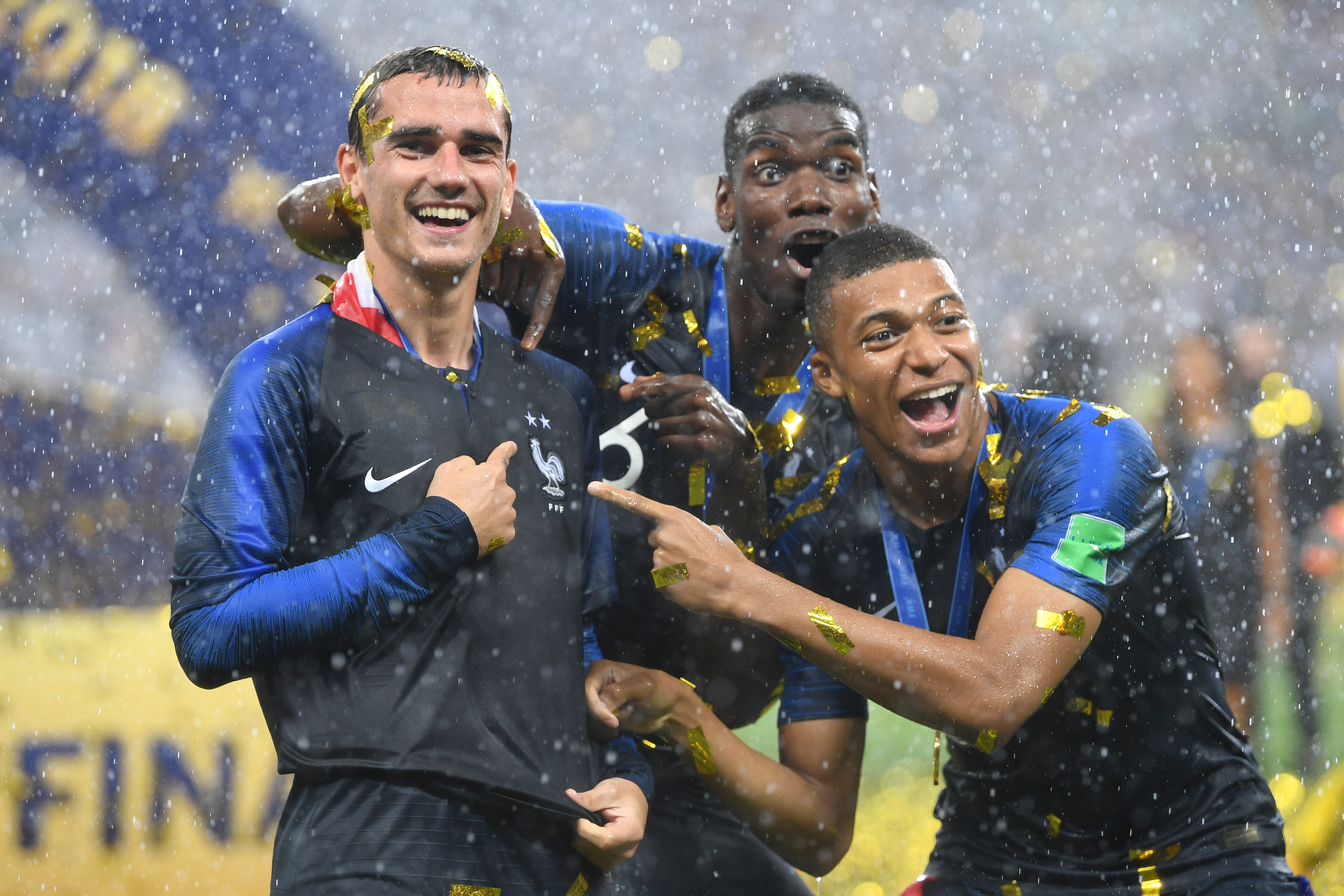 Antoine Griezmann, Paul Pogba, and Kylian Mbappe - France - 2018 FIFA World Cup Russia Final