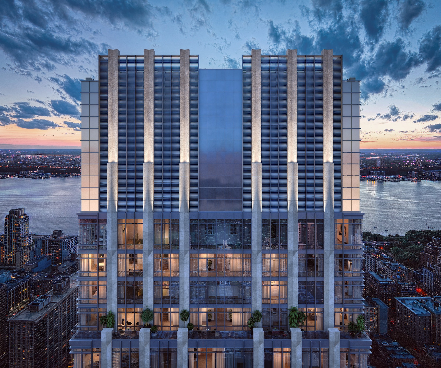 A digital rendering of a stone and glass tower in the Upper West Side of Manhattan.