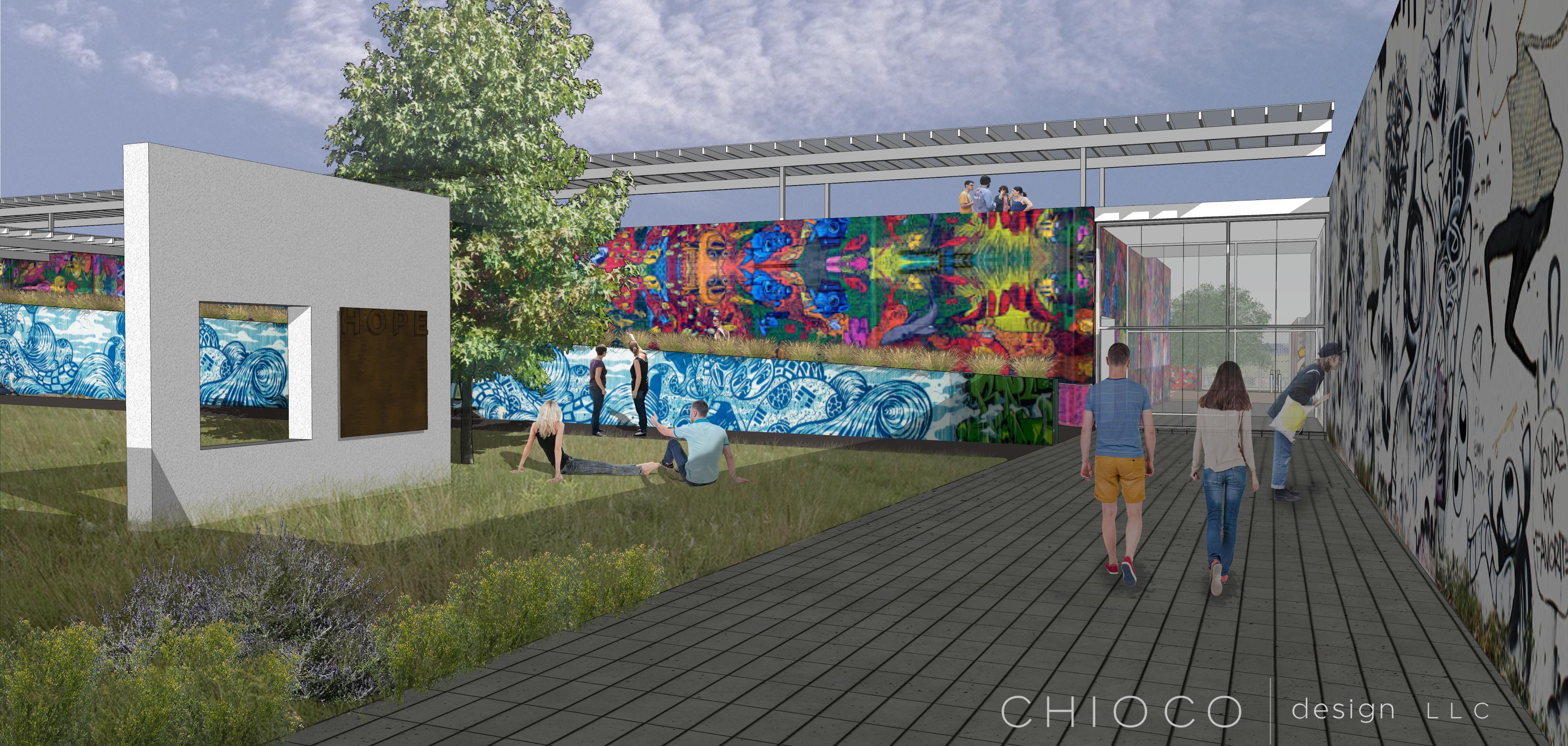 Rendering, outdoor walkway with a couple of people, wall with graffiti and blank wall