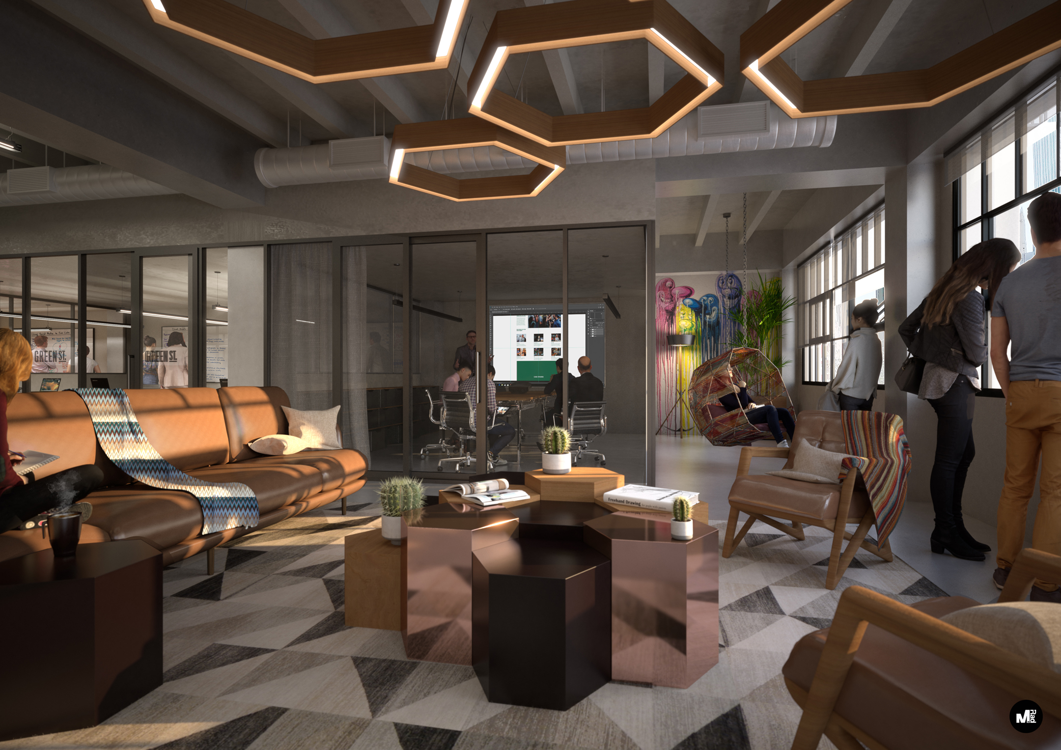A rendering of the interior of the coworking space.