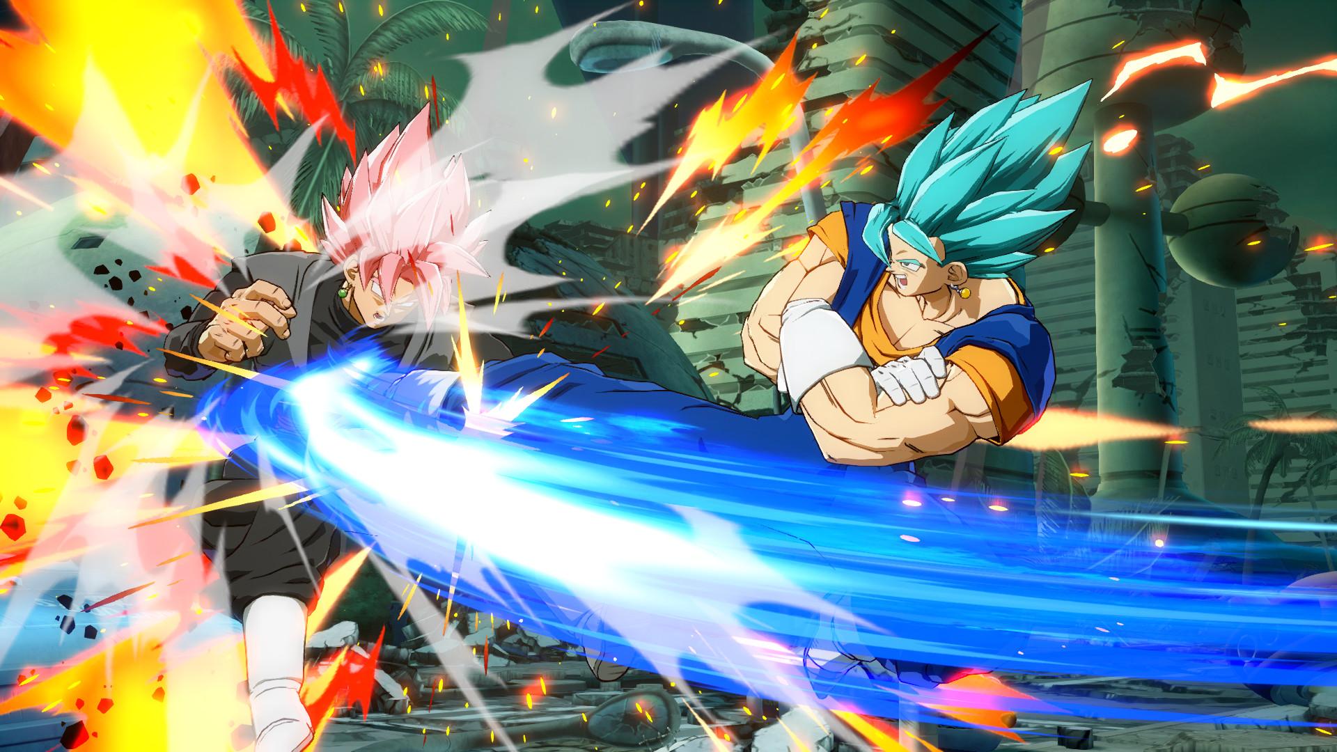 Dragon Ball FighterZ - SSGSS Goku kicking Goku Black