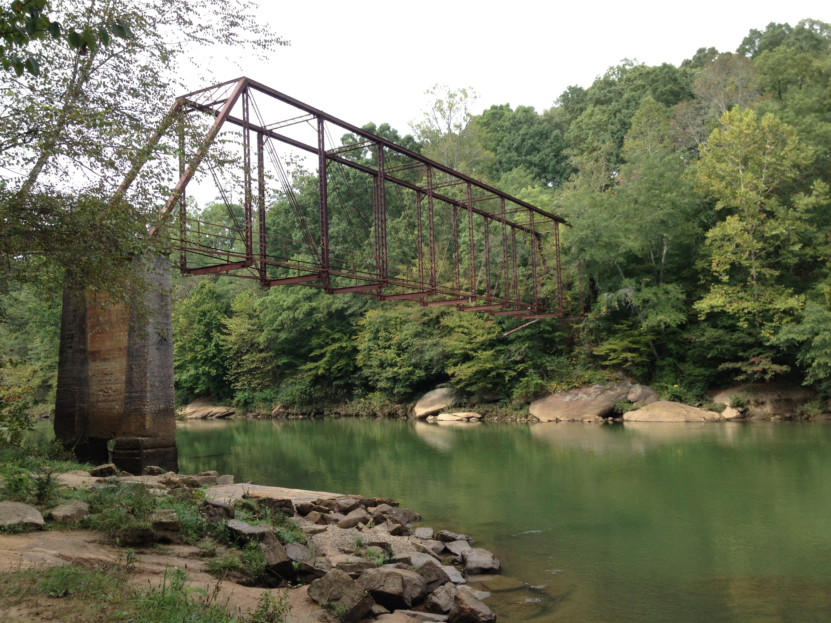 The waters of Settles Bridge Park are beautiful but perpetually chilly.