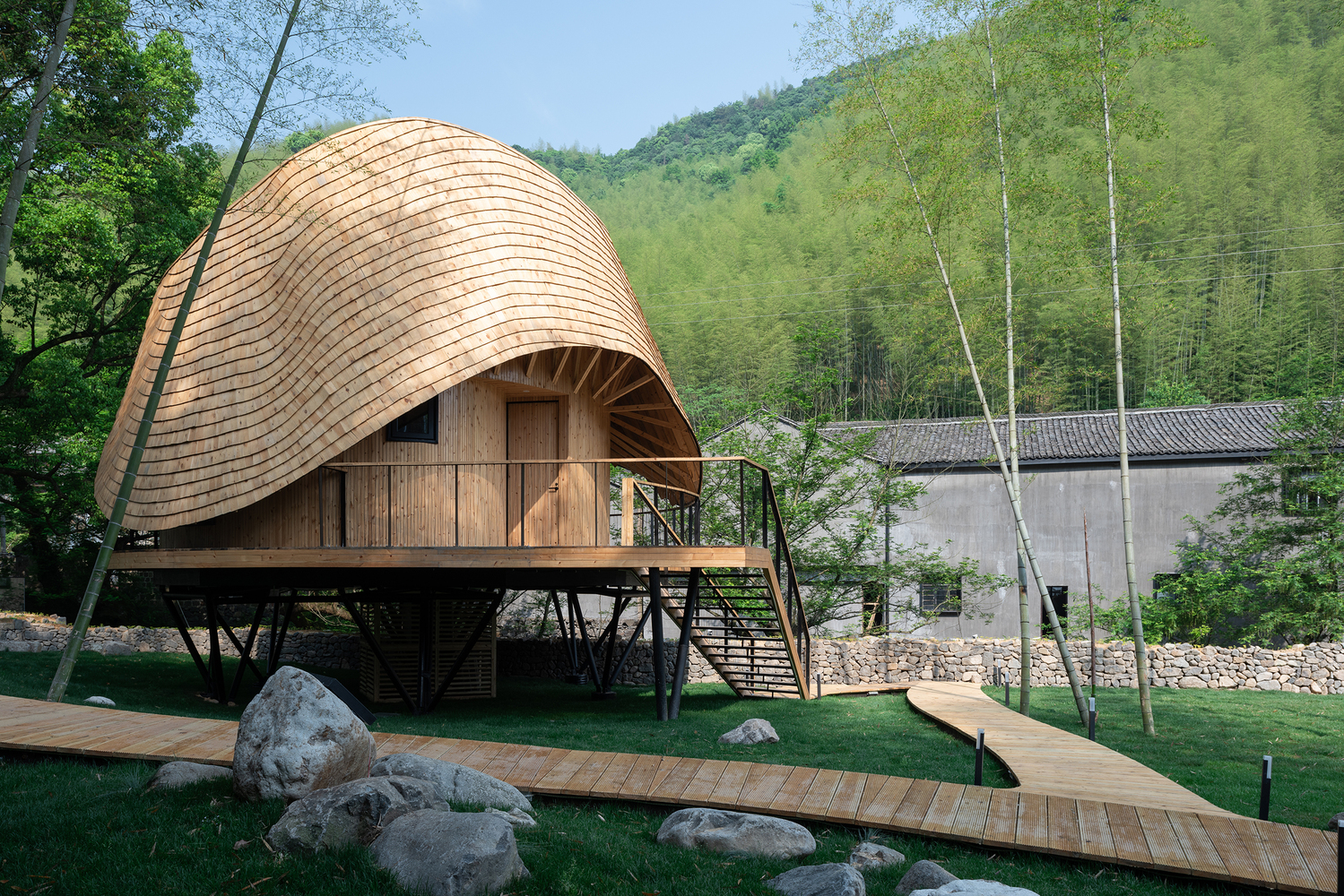 Bamboo house with raised deck