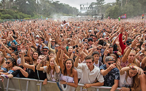 the view from the stage at outside lands, filled with fans