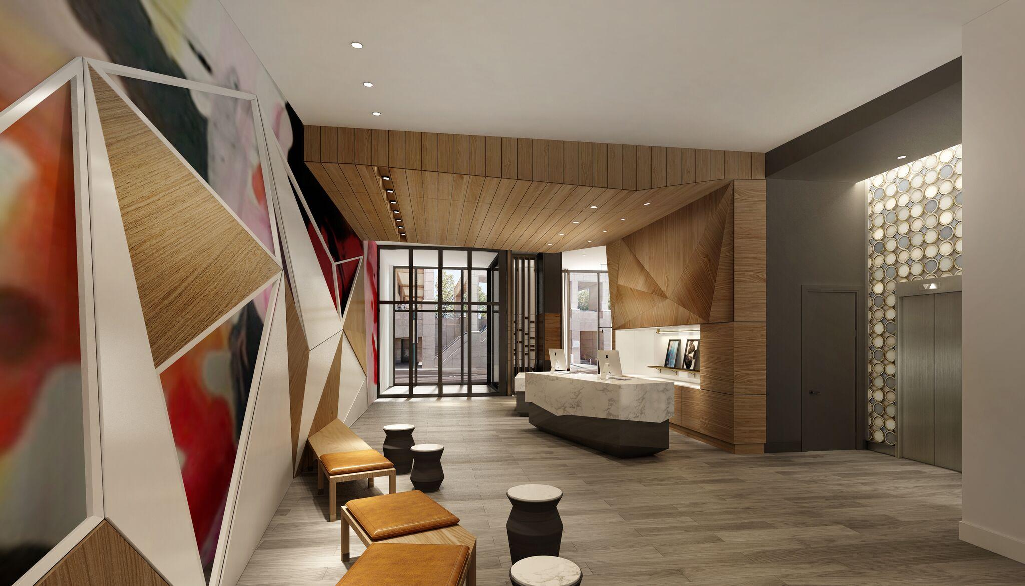 a rendering of an art-focused hotel lobby