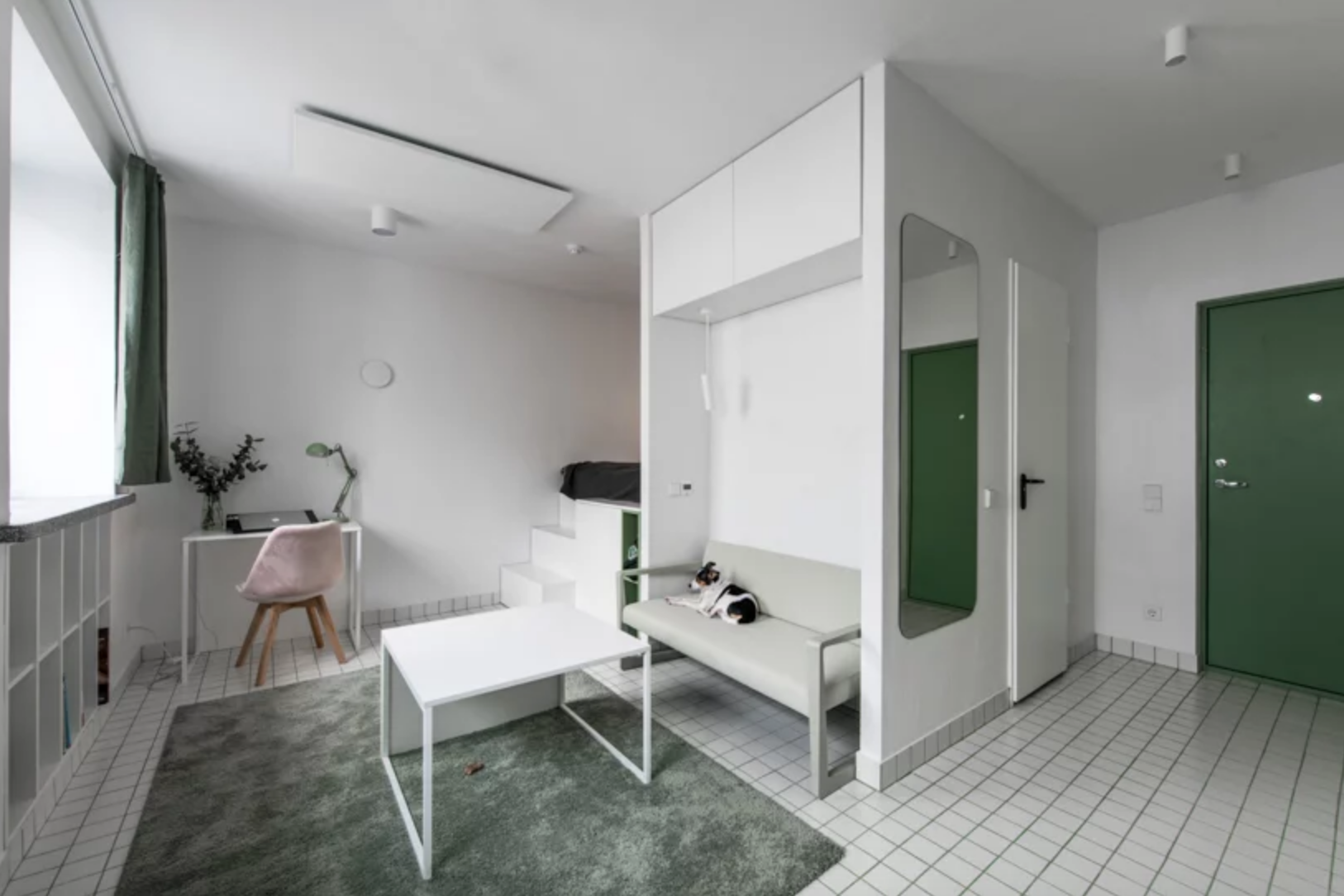 Micro apartment living room with green rug and white coffee table