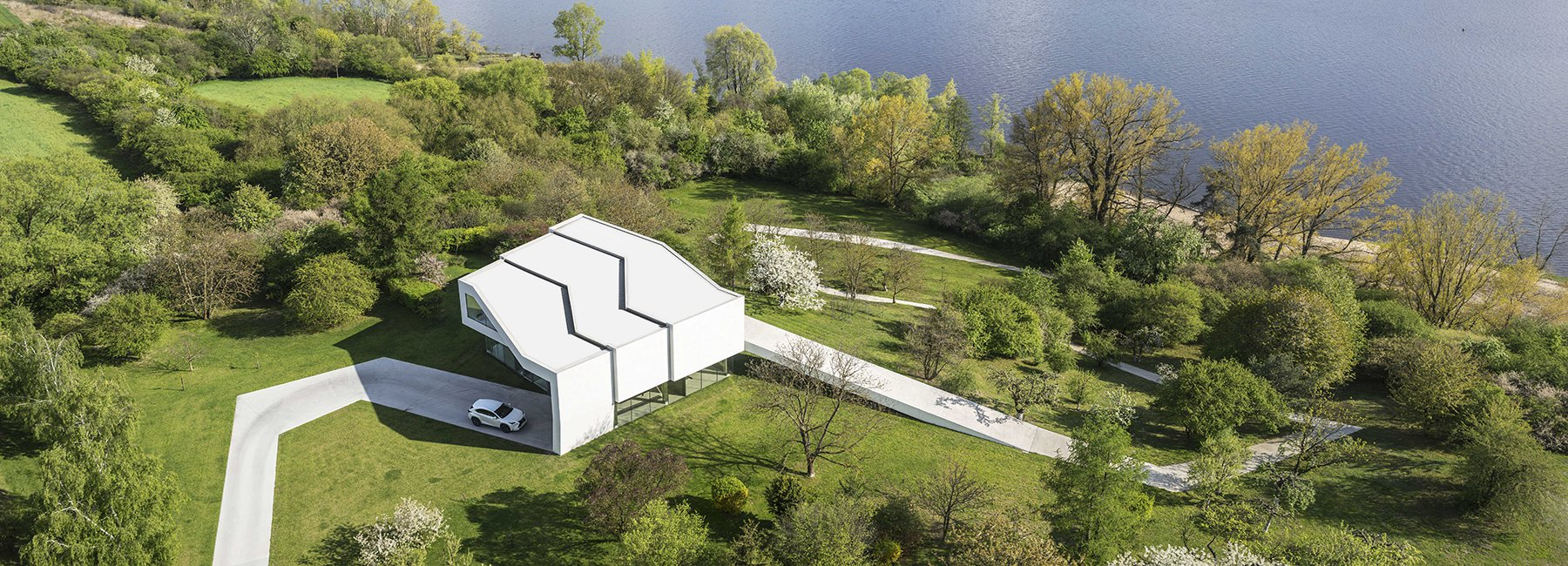 This home and its driveway were built to look like a single ribbon