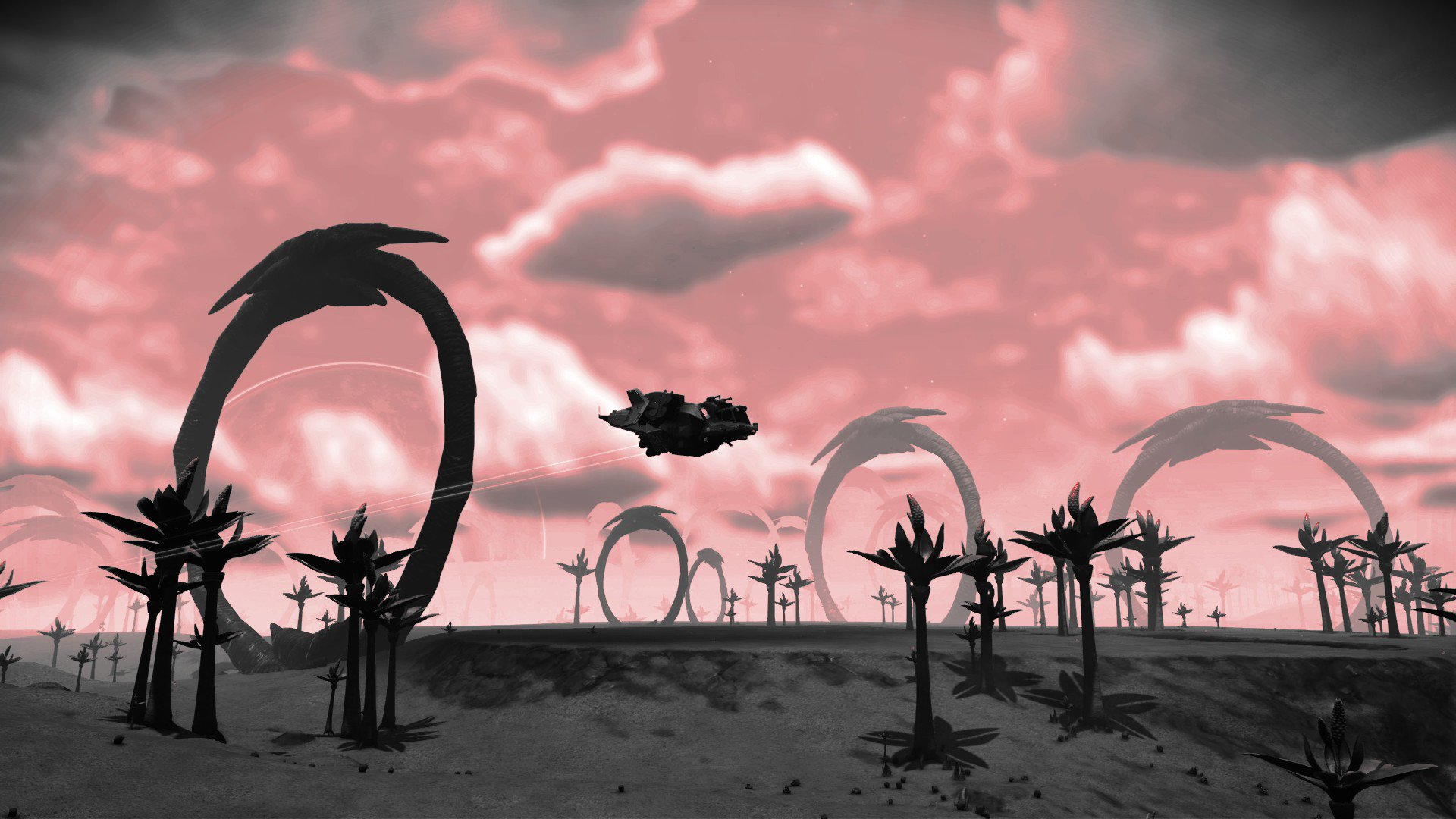 No Man's Sky - A spaceship flies across the horizon of an eerie red skied planet with giant stone rings dotting the landscape.