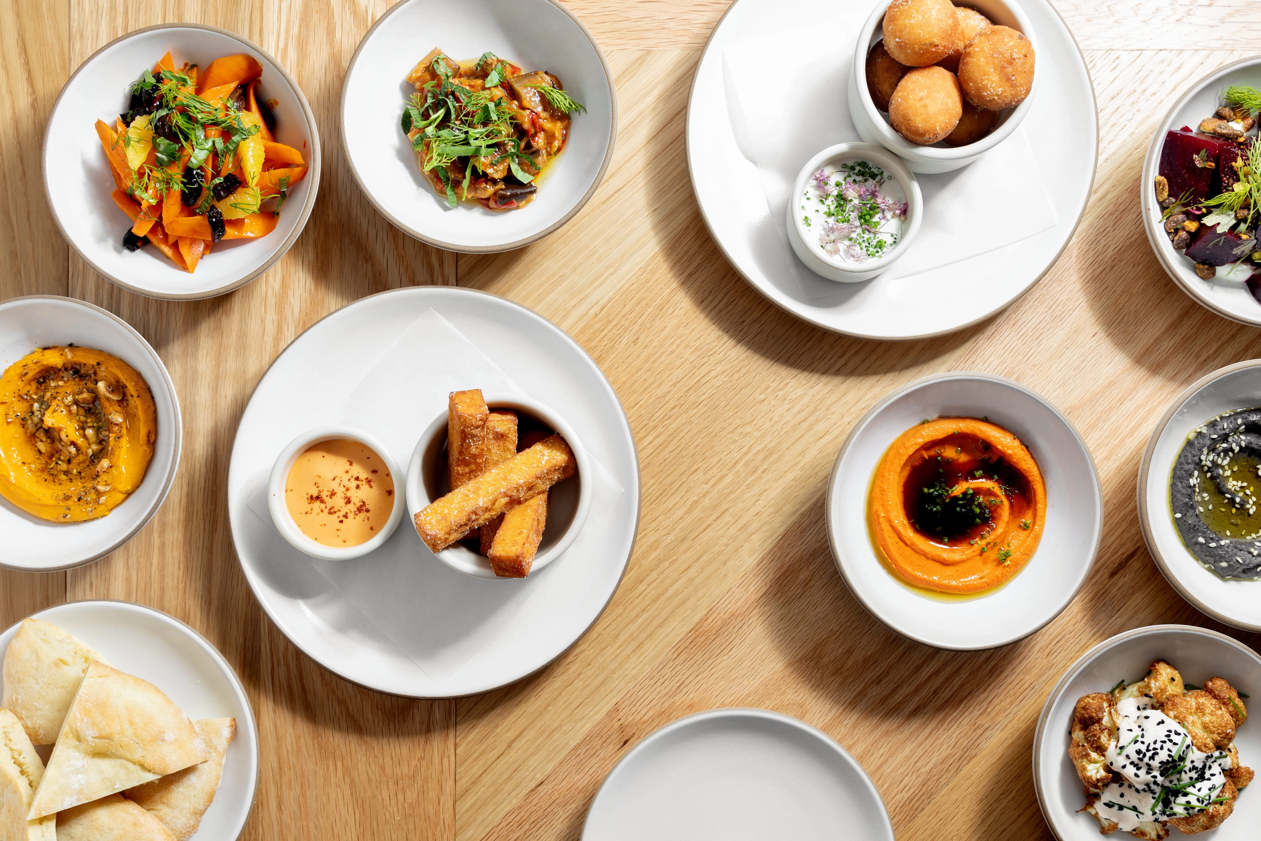 An assortment of mezze and snacks at Chickadee