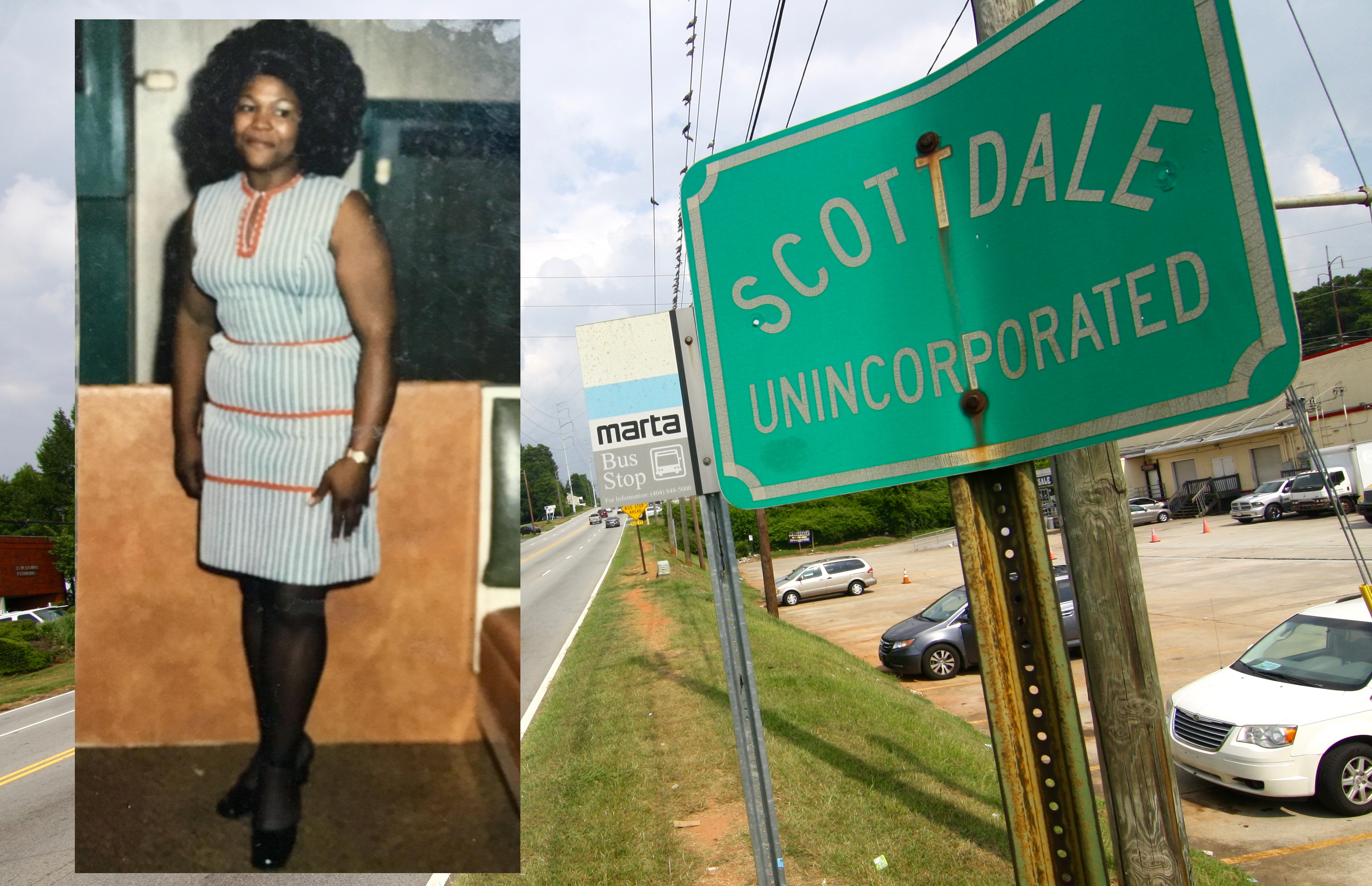 Photos of Barber in her singing days (contributed) and Scottdale, where she grew up, today (Josh Green).