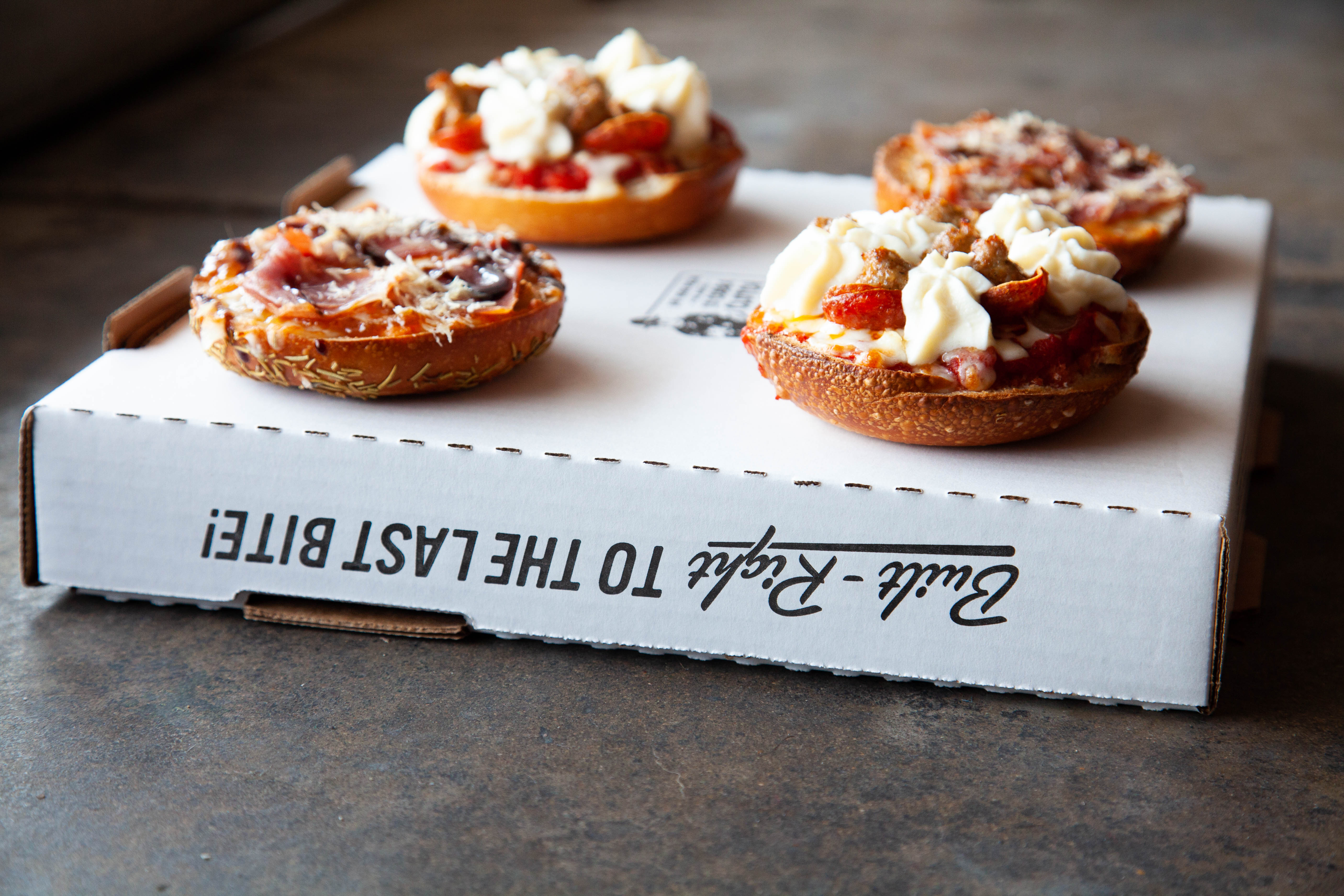 Pizza bagels from Via 313 and Rosen's Bagel Co