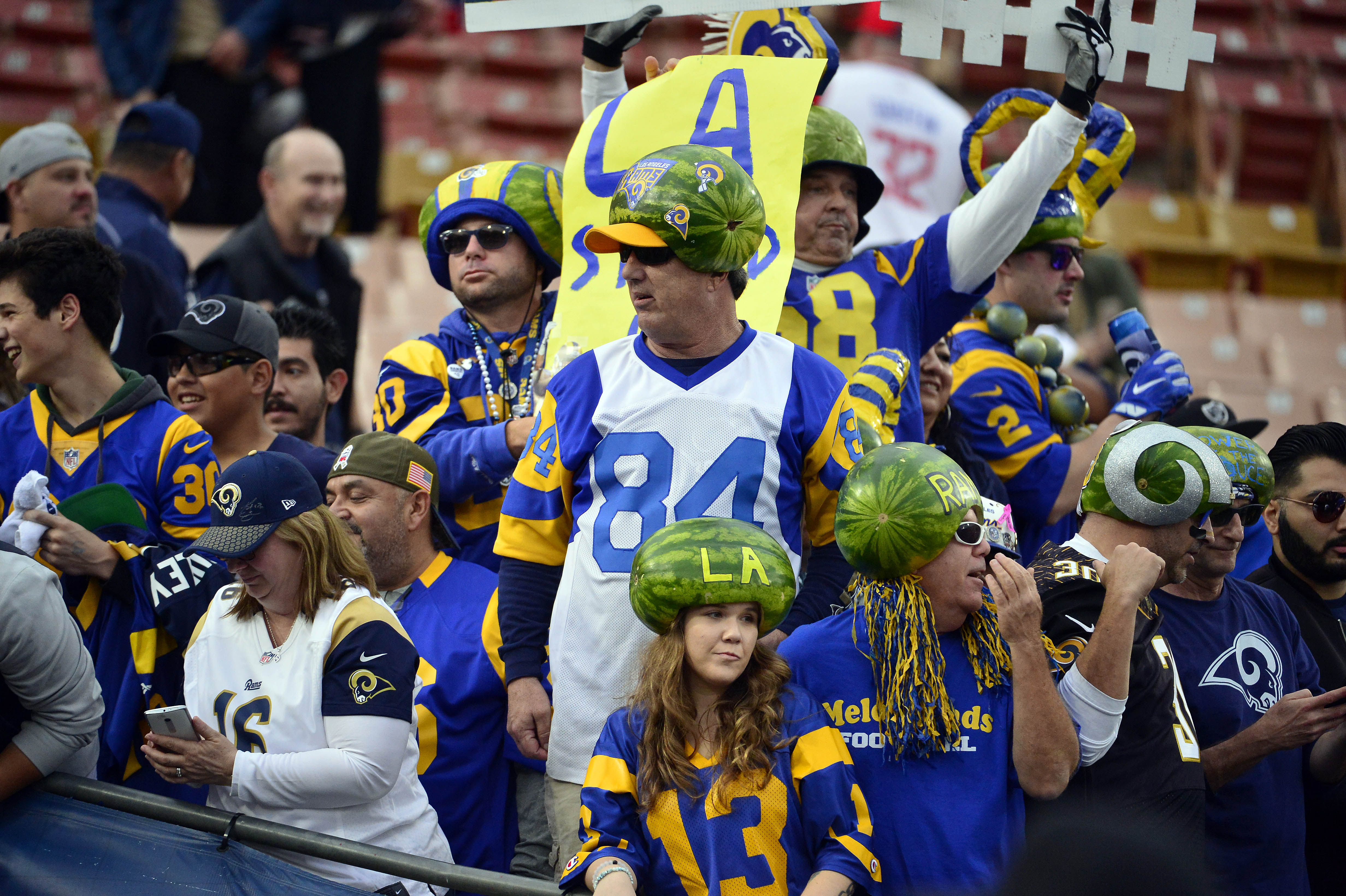 Los Angeles Rams fans before the NFC Wild Card playoff football game against the Atlanta Falcons at the Los Angeles Memorial Coliseum, January 6, 2018.