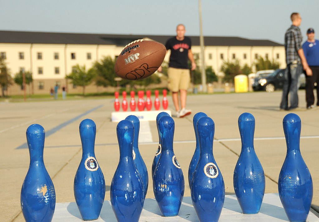 Fowling combines football and bowling and is set up like corn hole