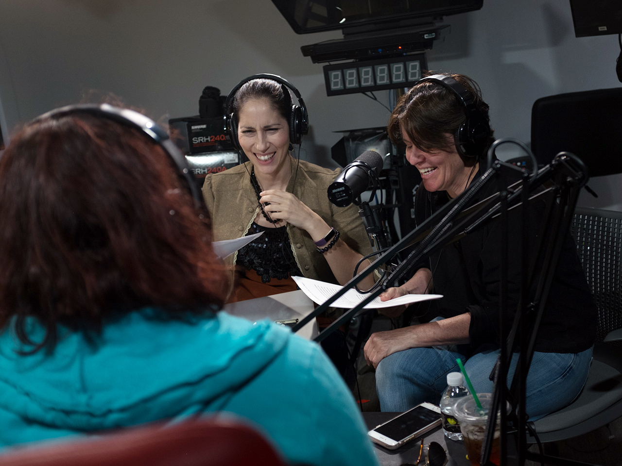 Lauren Goode and Kara Swisher record a podcast