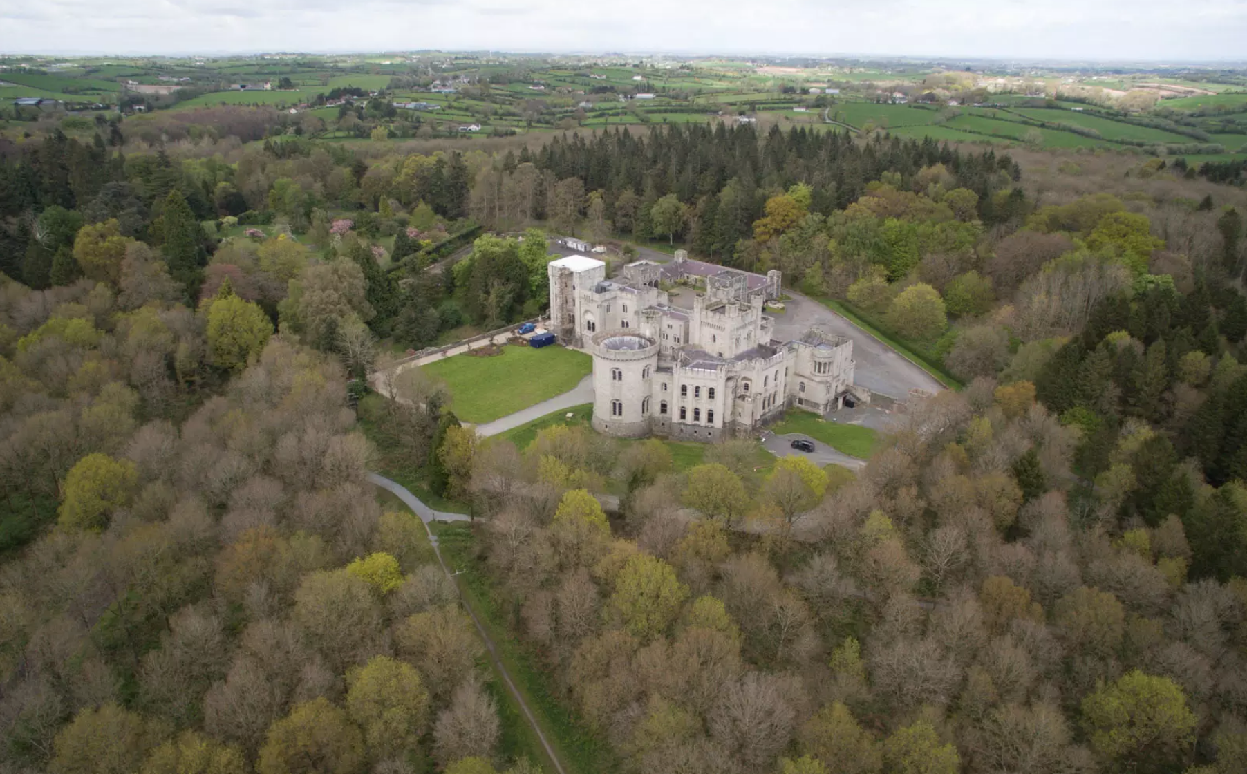 Castle surrounded by land