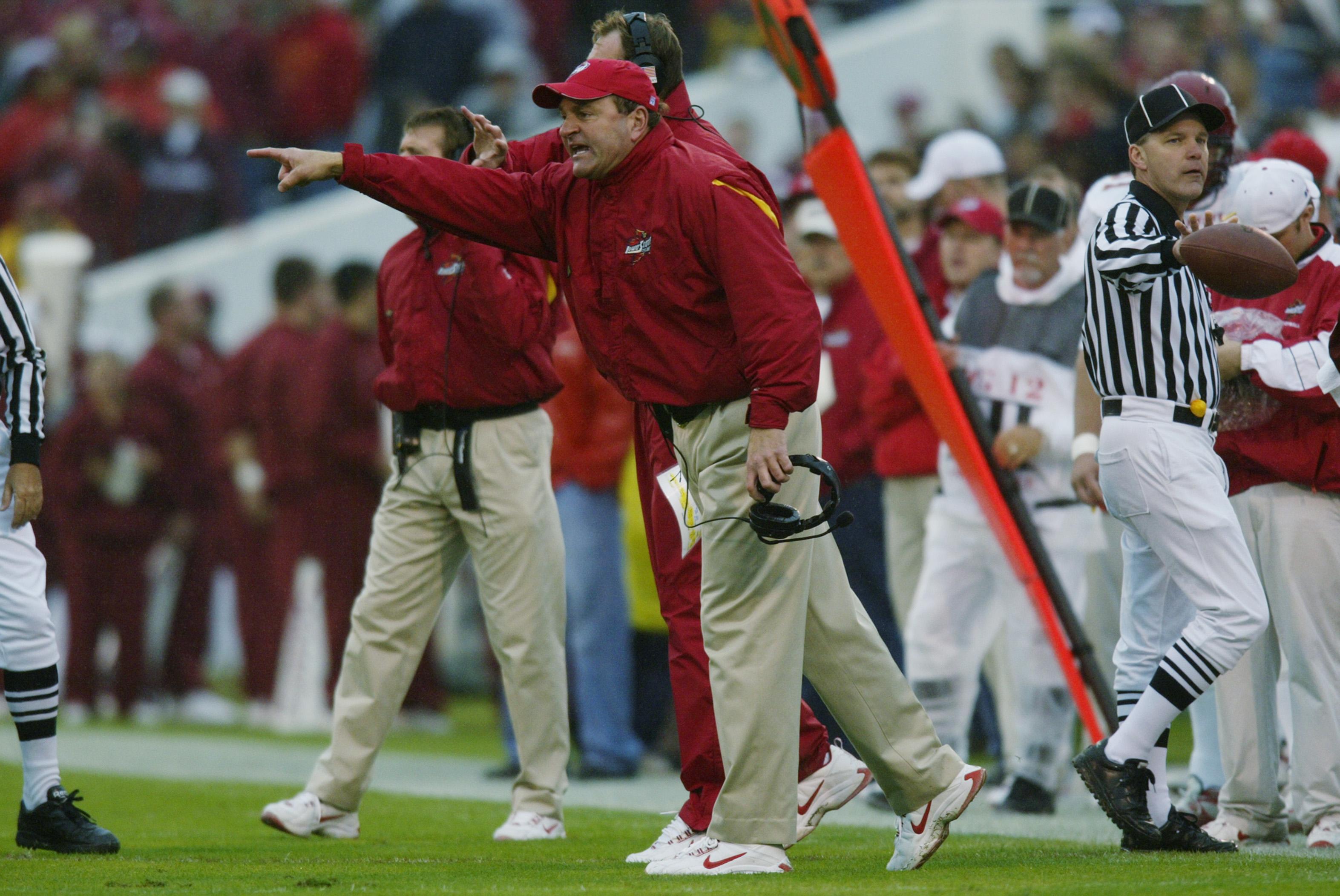 Iowa State head coach McCarney on sidelines