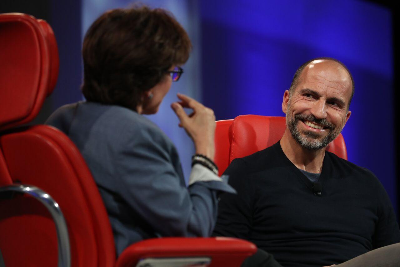 Uber CEO Dara Khosrowshahi onstage at Code Conference with Kara Swisher