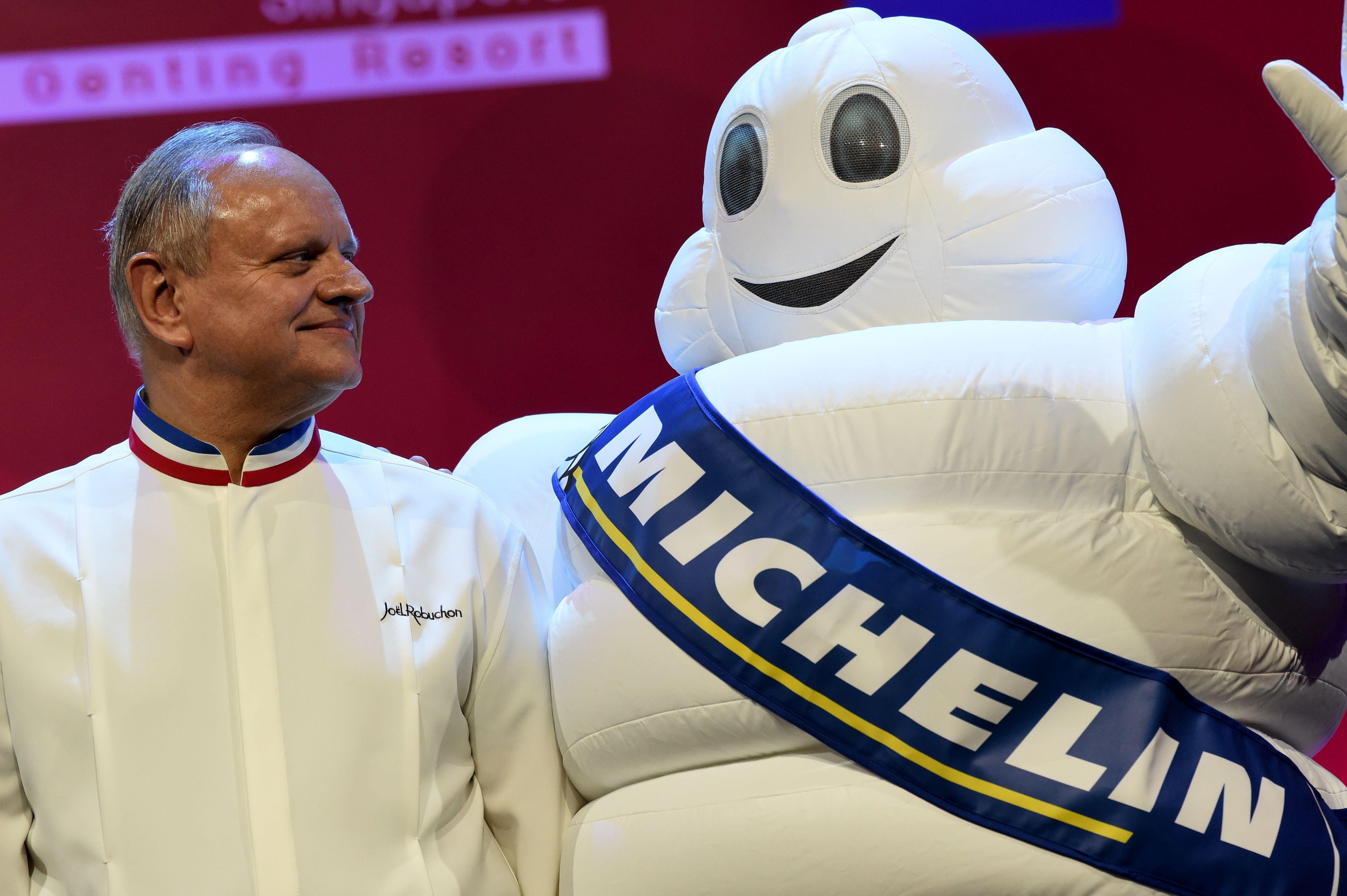 Joel Robuchon and the Michelin mascot
