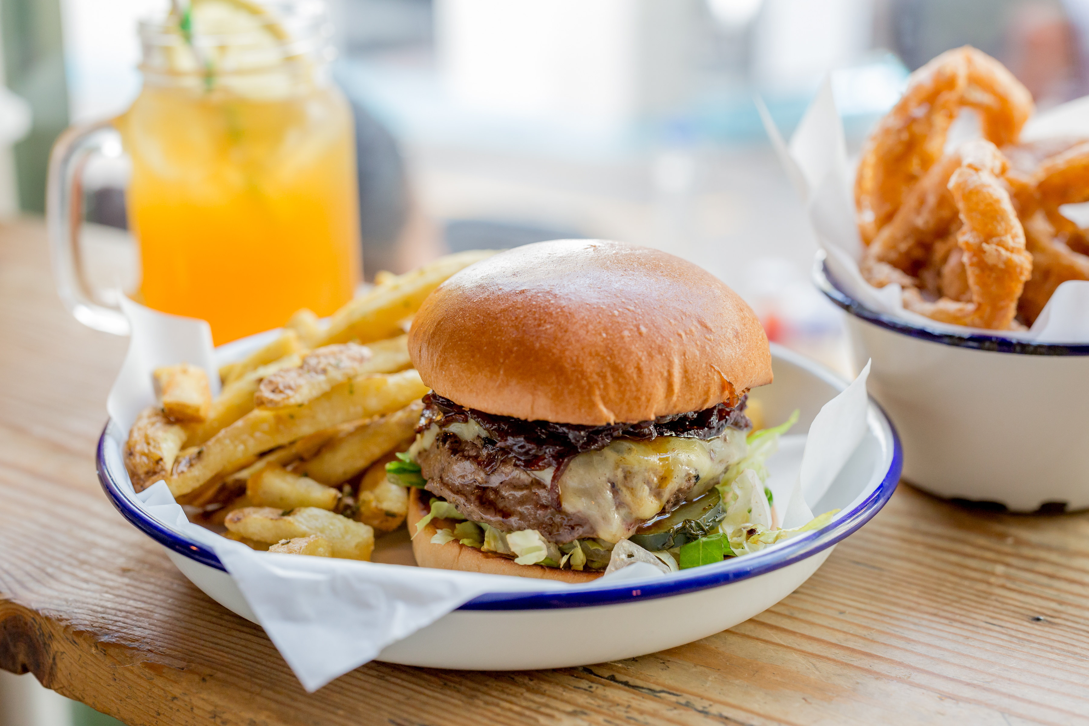 Burger and onion rings at Honest Burgers, London