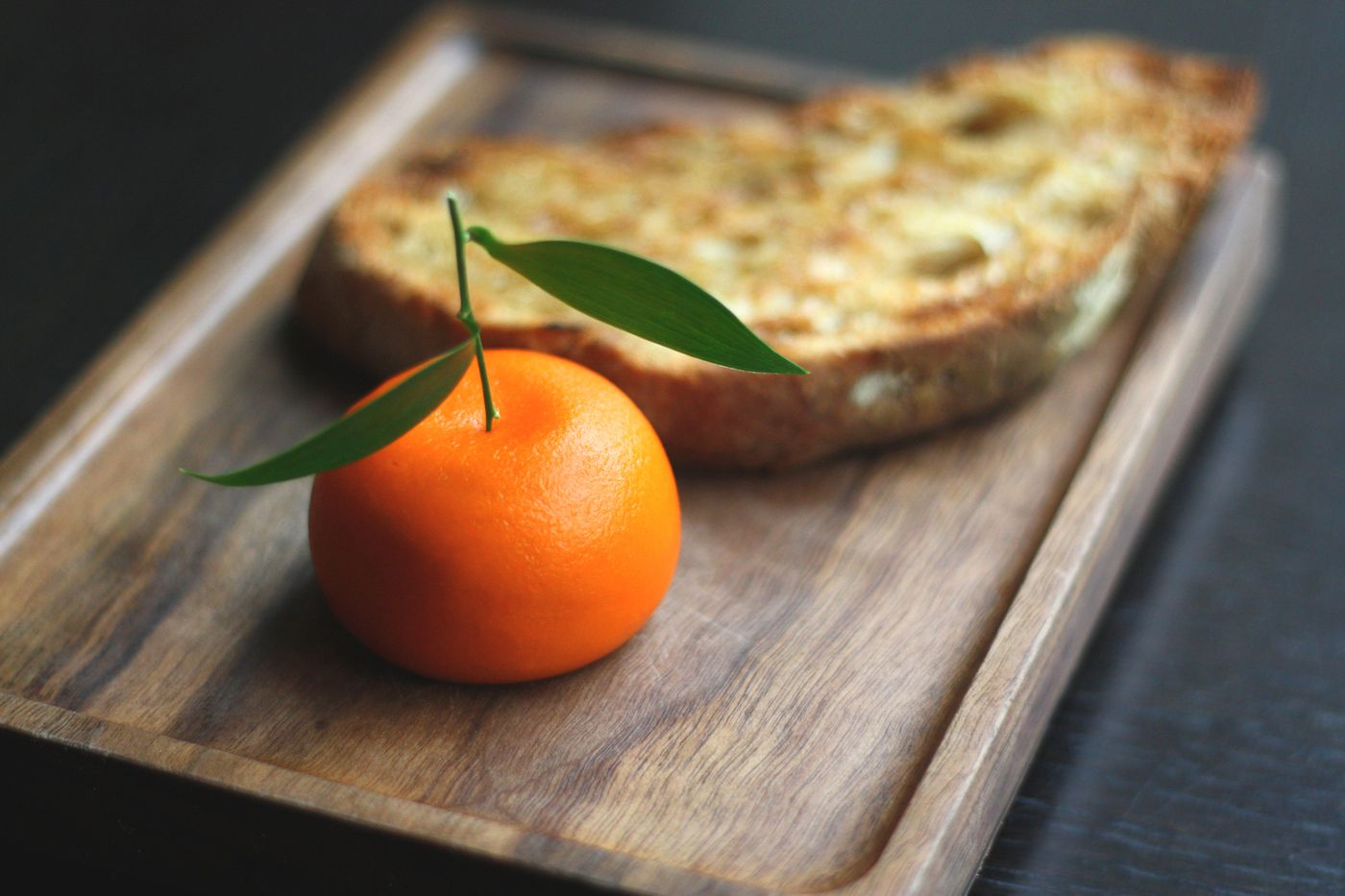 'Meat fruit' —a chicken liver parfait coated in mandarin jelly — at Dinner by Heston Blumenthal at the Mandarin Oriental Hotel in Knightsbridge