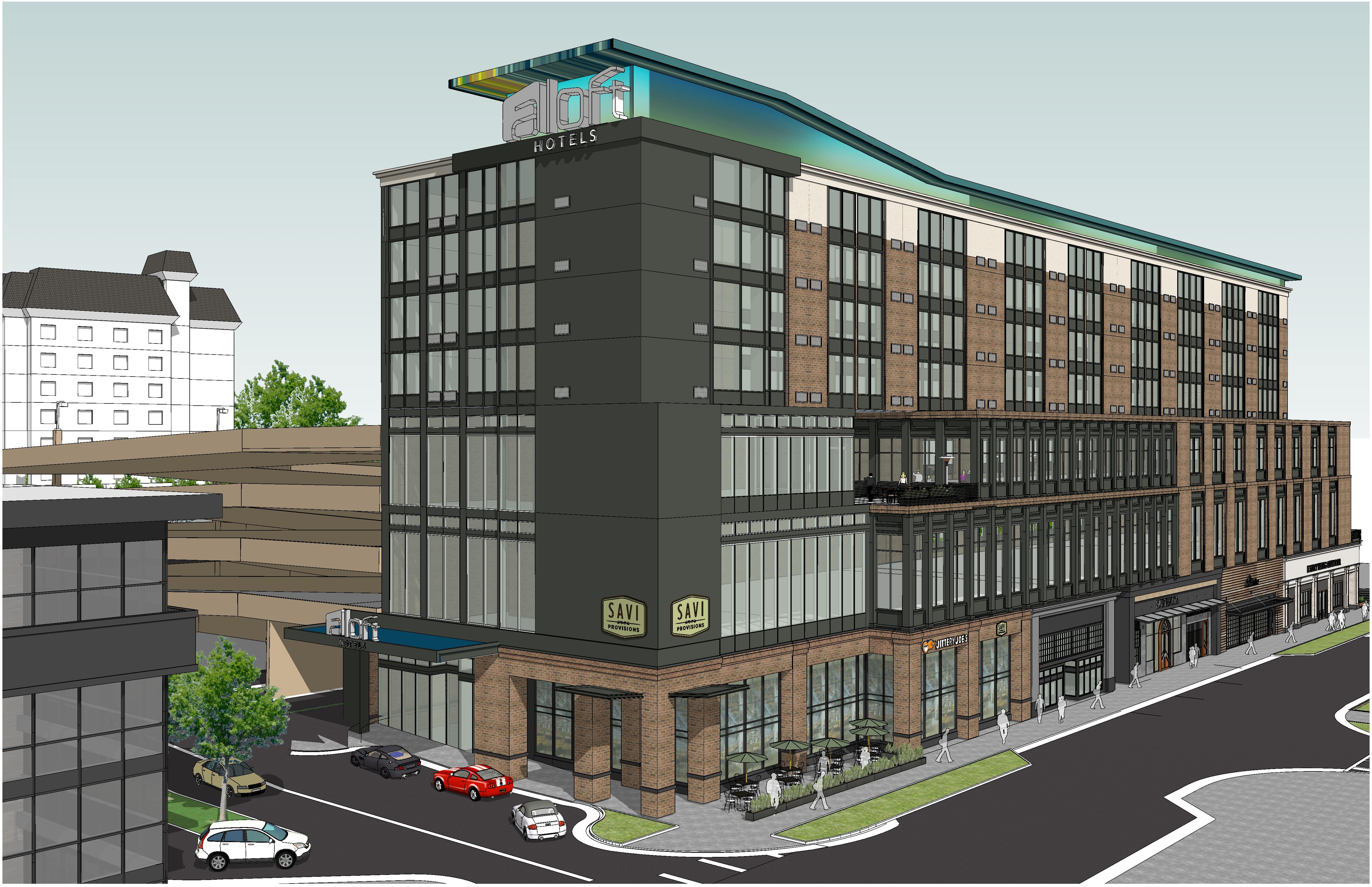 """The forthcoming """"lifestyle hotel"""" at The Battery in a rendering."""